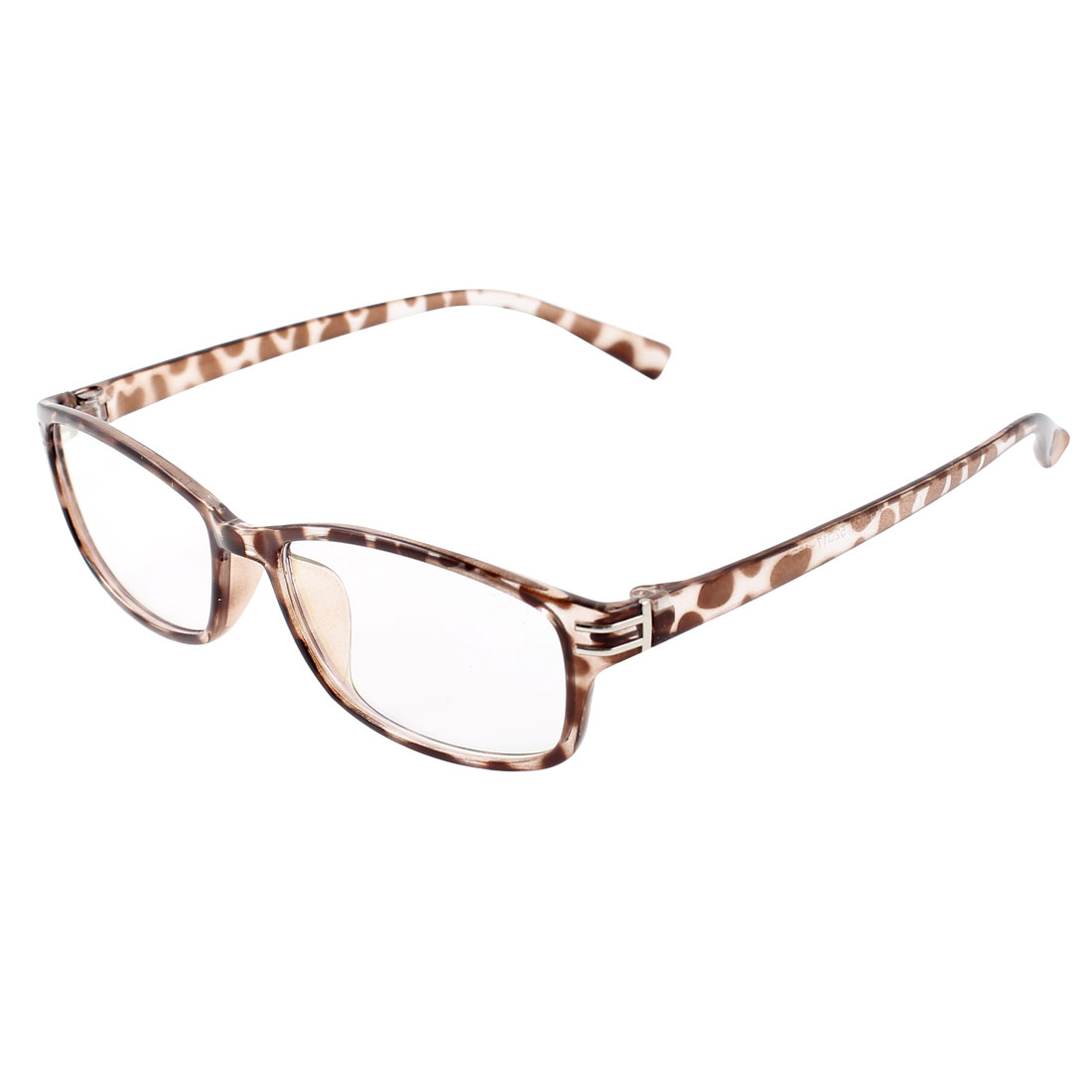Women Leopard Pattern Plastic Full Rim Frame Multi Coated Plano Glasses Spectacles