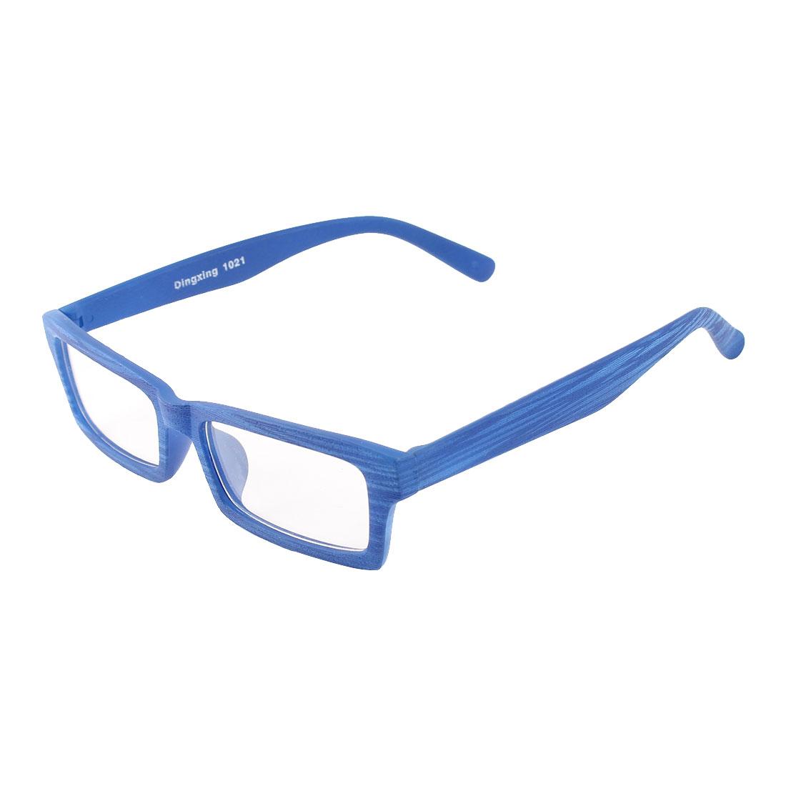 Unisex Wood Blue Full Frame Single Bridge Clear Lens Plano Glasses