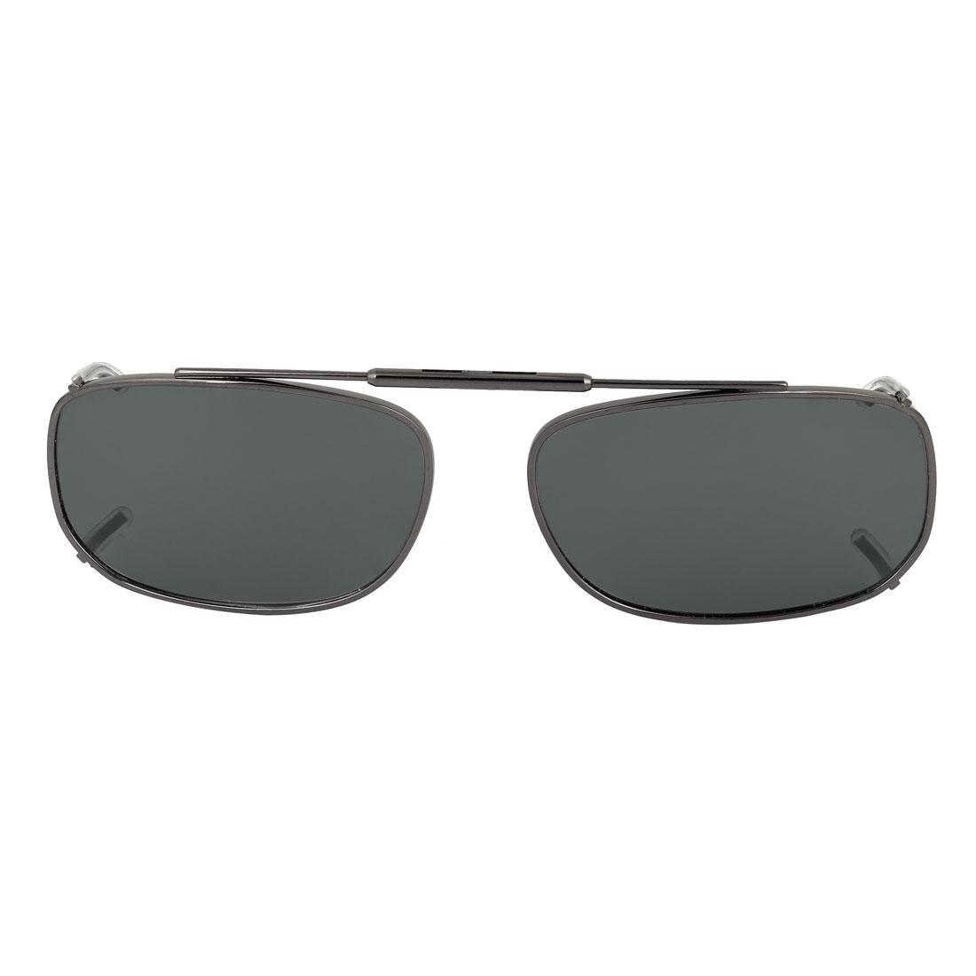 Unisex Outdoor Rimless Dark Gray Polarized Lens Clip on Sunglasses