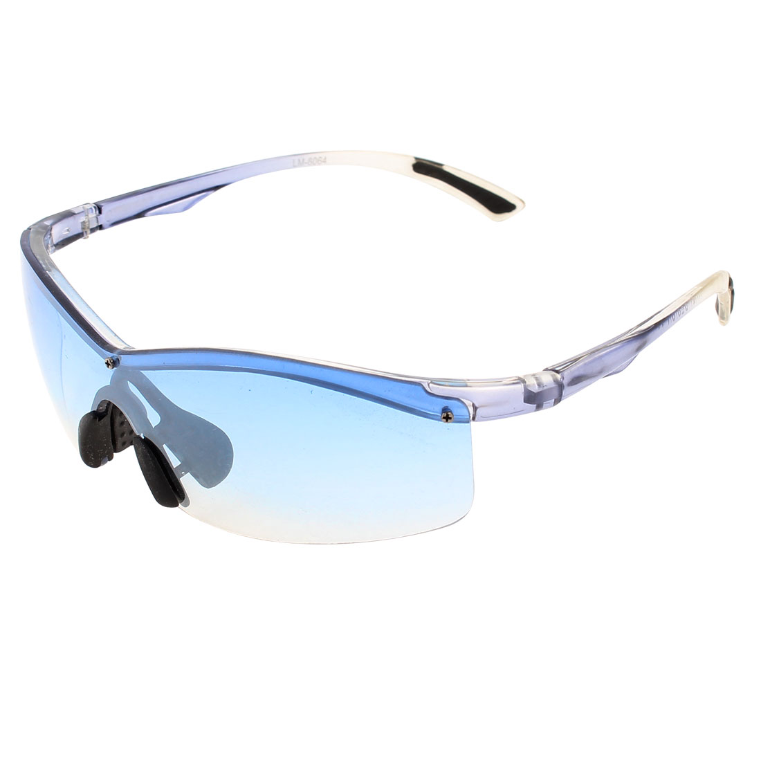 Women Men Plastic Half Rim Gradient Clear Blue Lens Sports Sunglasses
