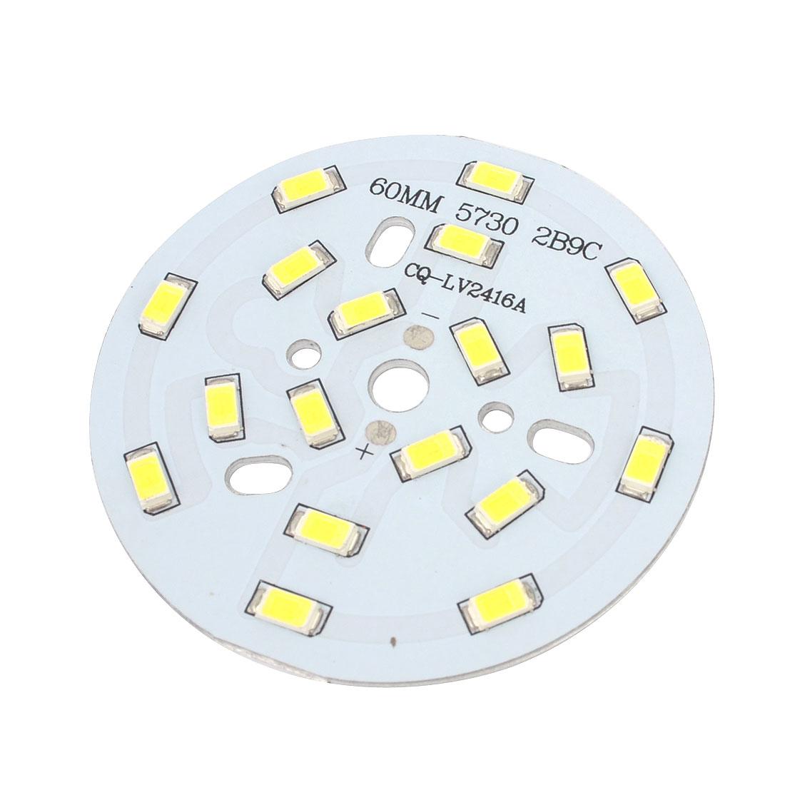White 18 LED 9W 50-60Lm 5730 SMD + Aluminum Base Plate PCB 60mm DIY