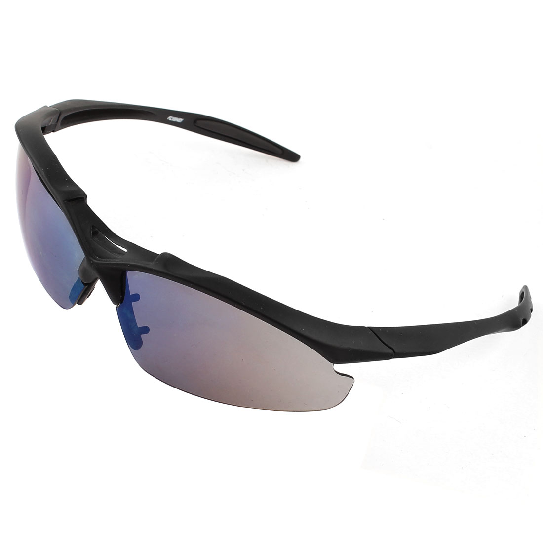 Outdoor Black Plastic Half Frame Colored Rectangle Lens Sunglasses for Woman Man