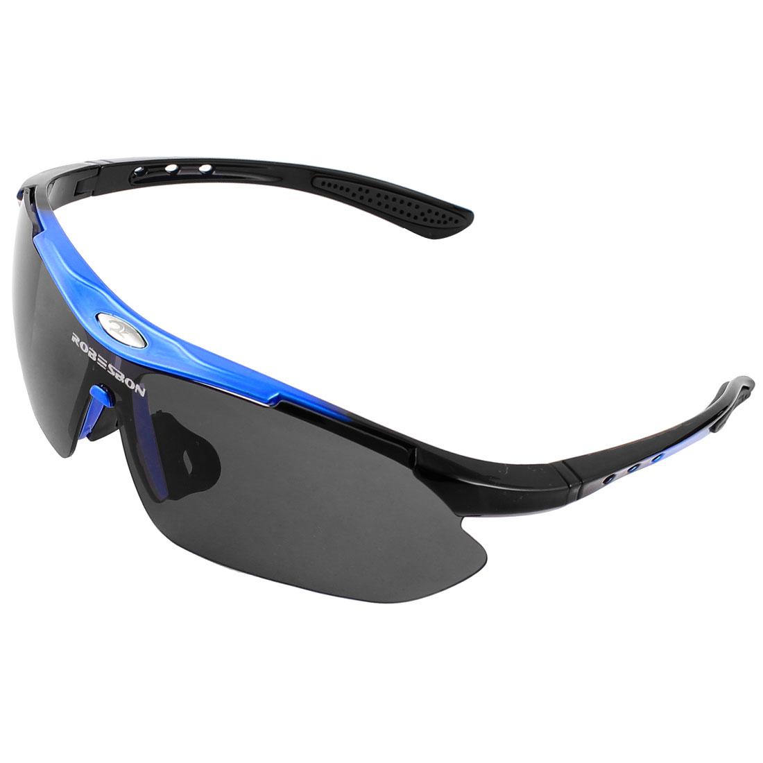 Outdoor Blue Black Plastic Half Frame Uni Lens Sunglasses for Woman Man