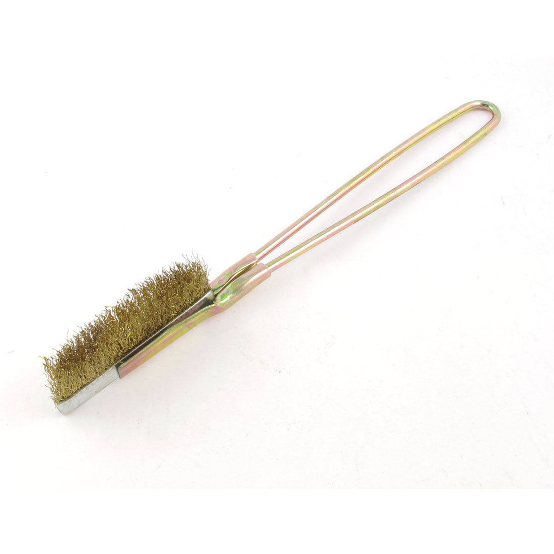 Bronze Tone Handle Handheld Rust Stain Cleaning Yellow Steel Wire Brush 22cm Long