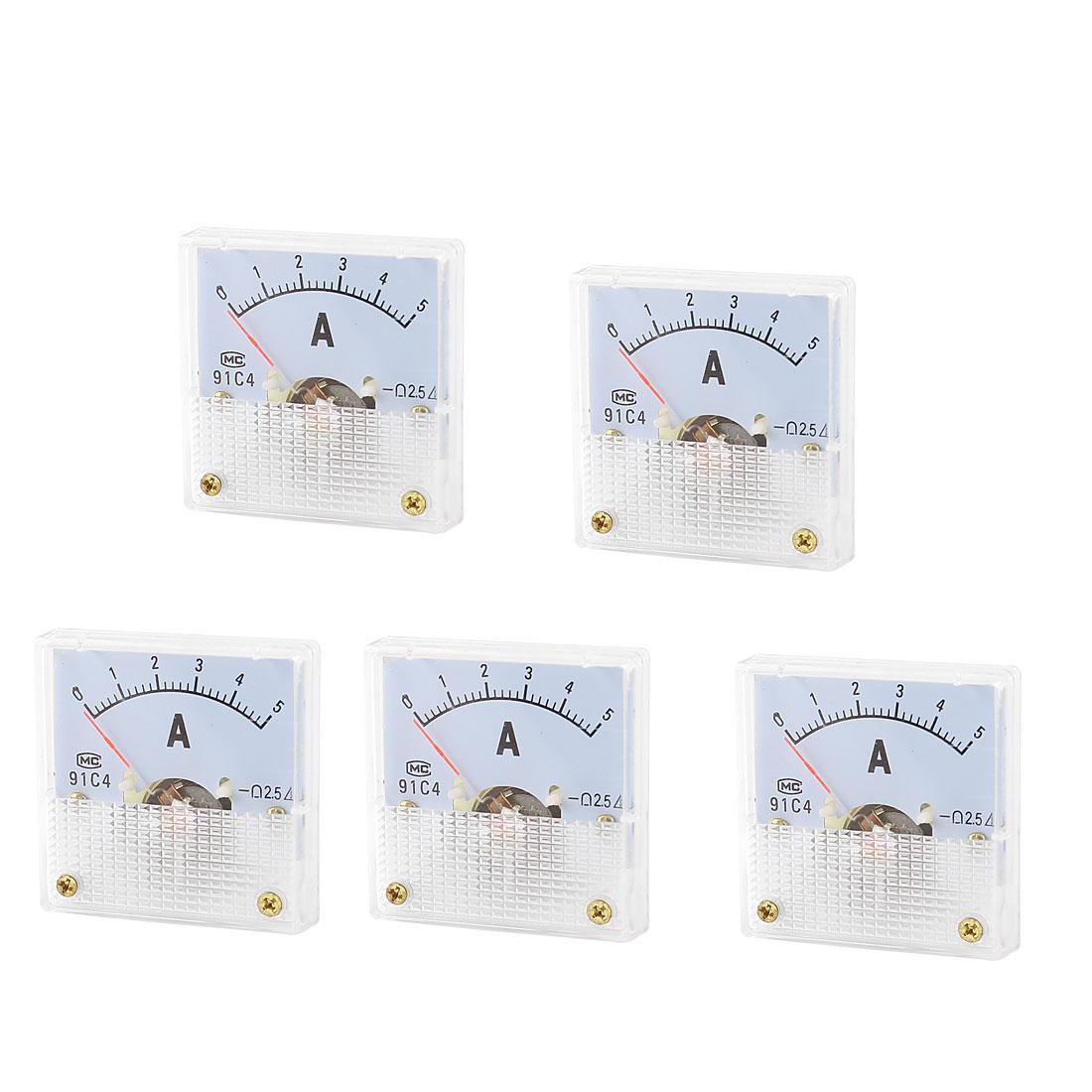 White Mounting Head DC 5A Current Amperemeter Panel Meter Gauge 5Pcs