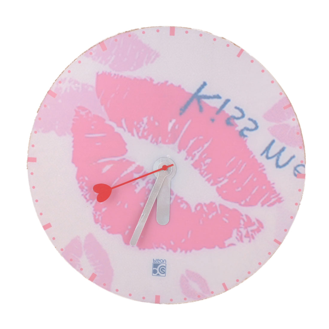 Pink White Plastic Shell Kiss Me Lip Pattern DIY Round Wall Mute Clock
