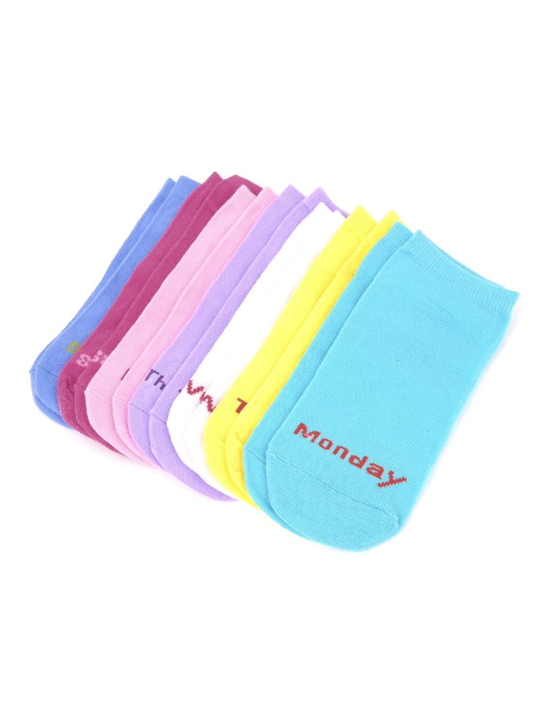 7 Pairs Stretchy Cuff Letter Print Casual Ankle Socks Multicolor for Lady