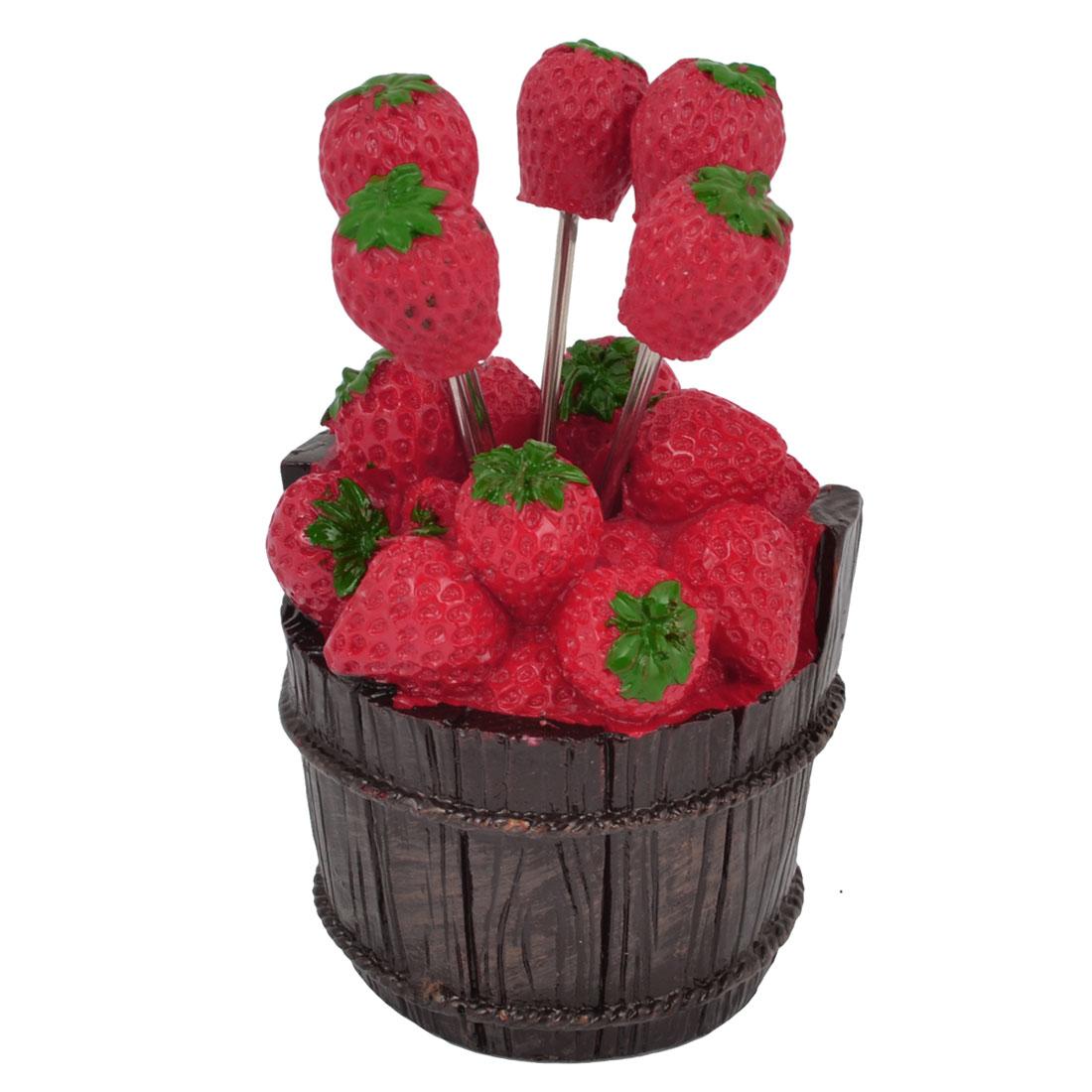 5 Pcs Red Strawberry Shape Dessert Fruit Forks Tool w Plastic Bucket Holder