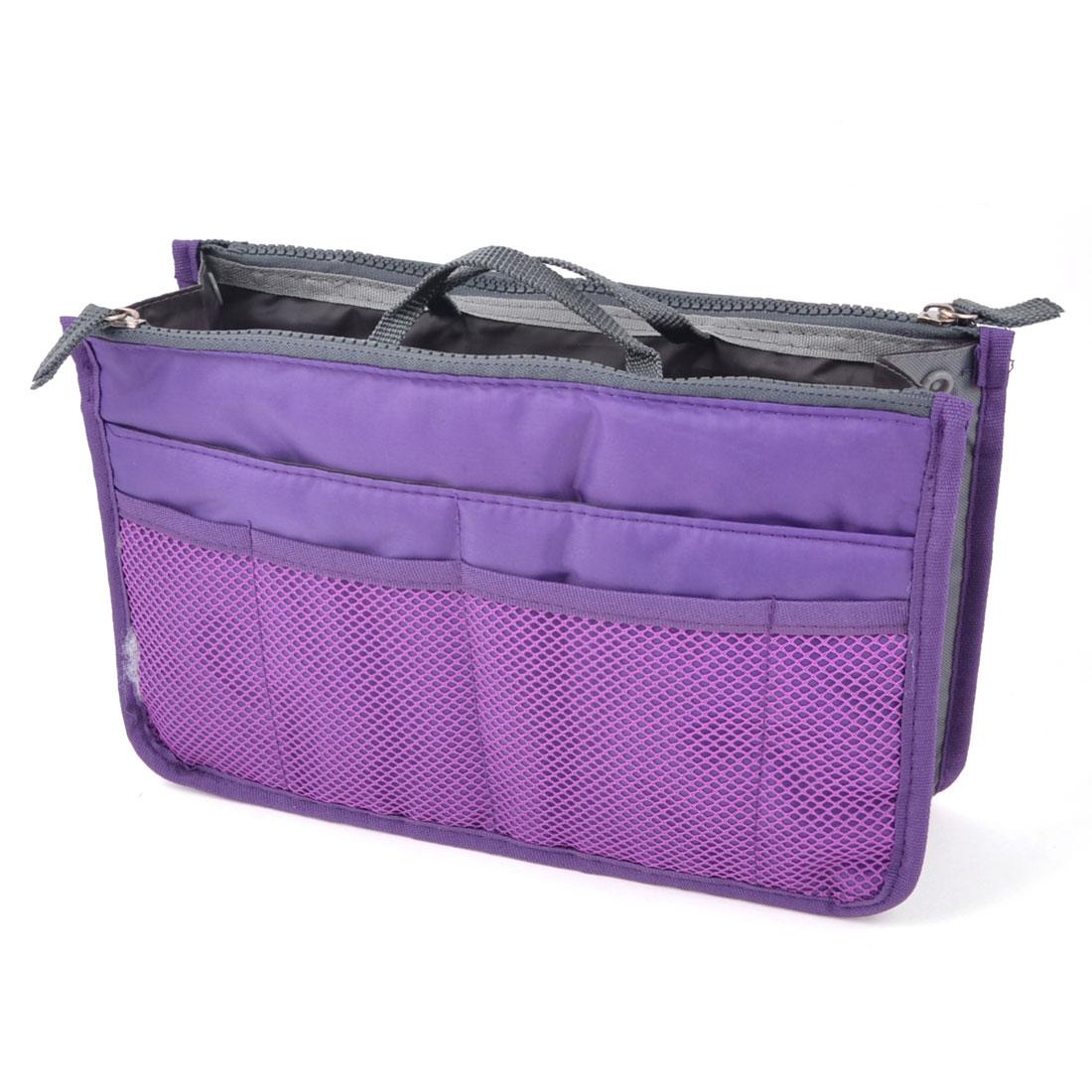 Multifunction Zipper Closure Pockets Purse Storage Bag Pouch Organizer Purple