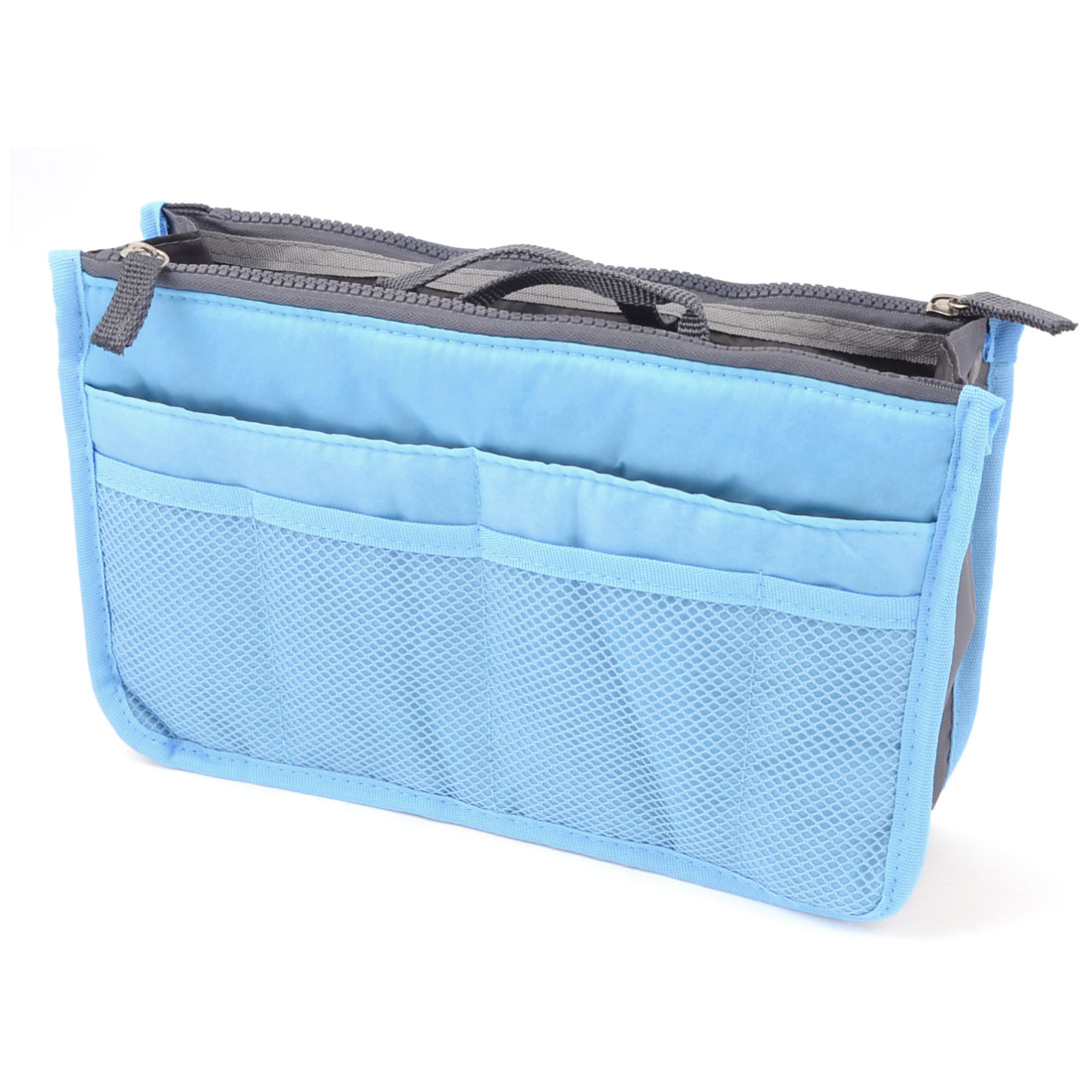 Portable Zipper Closure 3 Layers Pockets Purse Storage Bag Pouch Organizer Blue