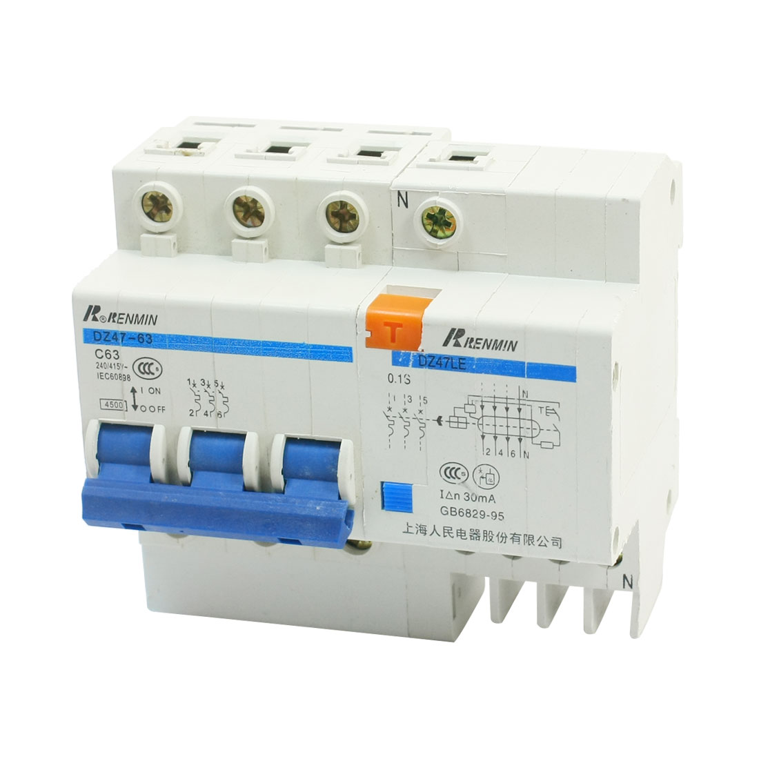 AC400V 63A 4000A Breaking Capacity 3 Phase 3P+N Overload Protection 35mm DIN Rail Mounting MCB Miniature Circuit Breaker DZ47-63 C63