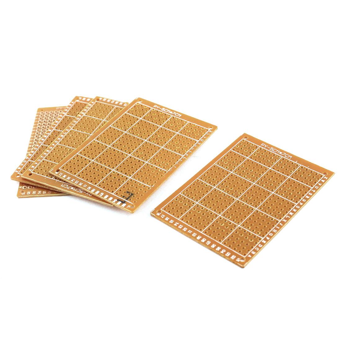 5pcs Universal Prototyping 2.54mm Pitch PCB Board Prototype Circuit Breadboard Stripboard Single Side Copper 50x70mm