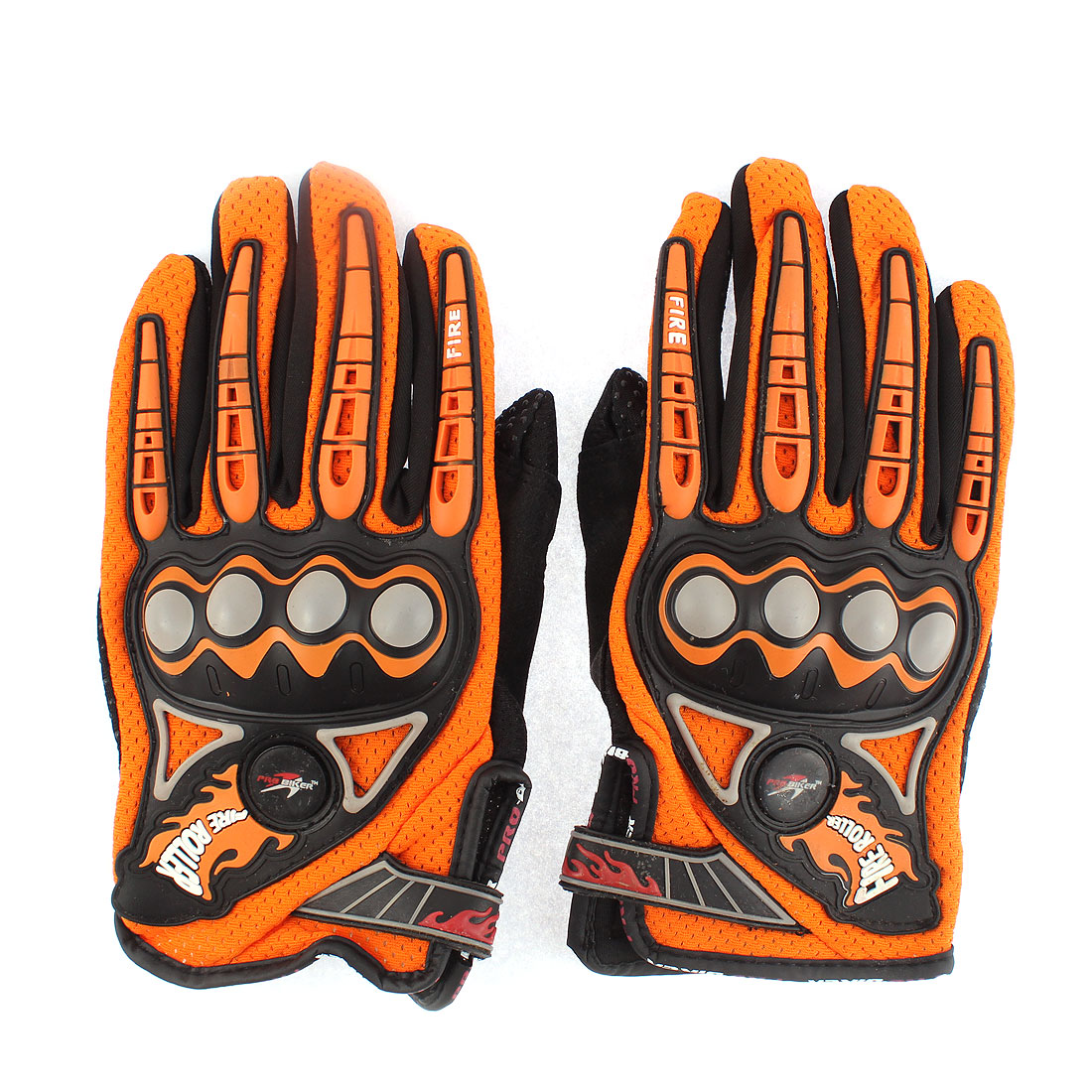 2 Pcs Unisex Full Finger Motorcycle Racing Cycling Outdoor Sport Gloves L Orange