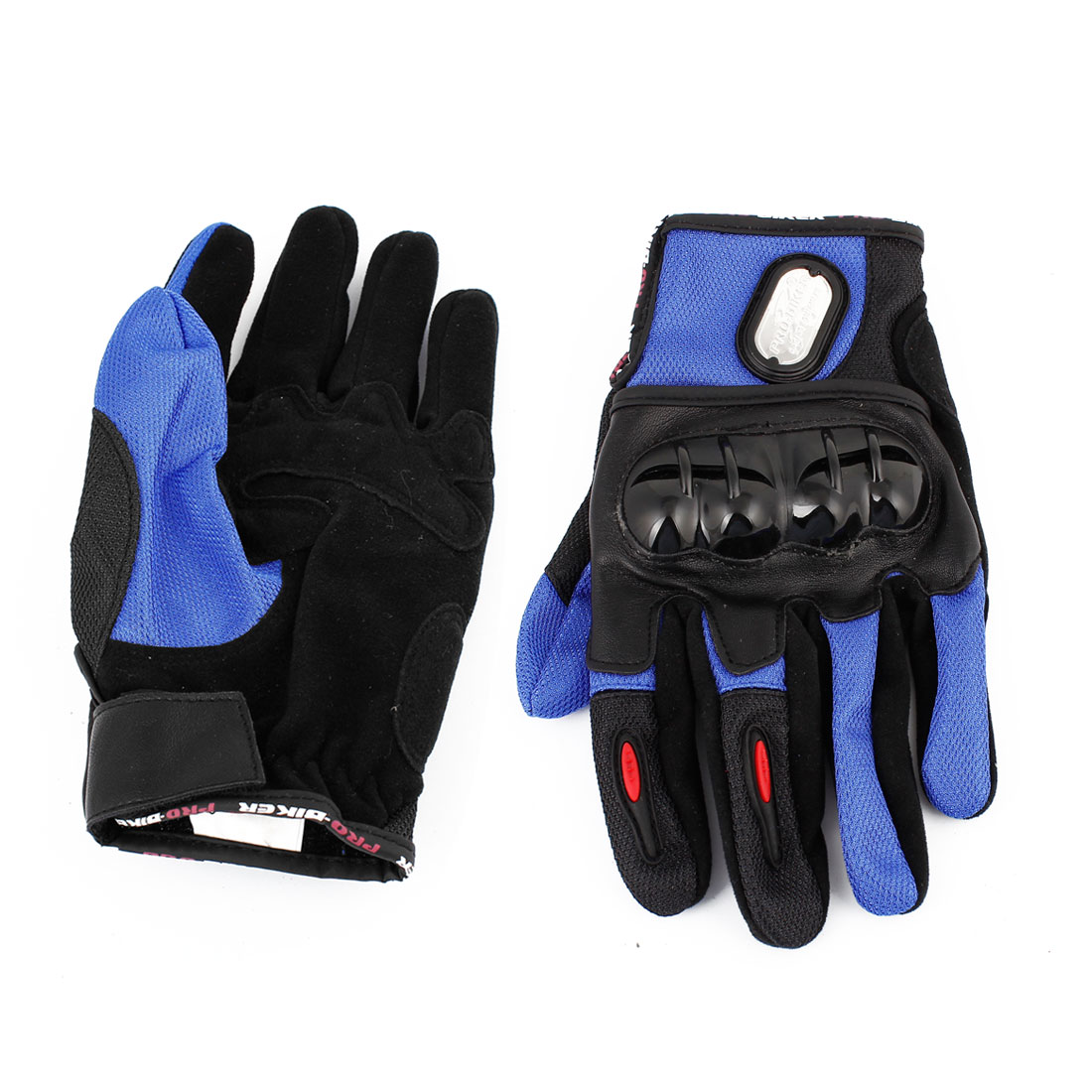 2 Pcs Women Men Bike Sport Cycling Motorcycle Full Finger Gloves Black Blue XL