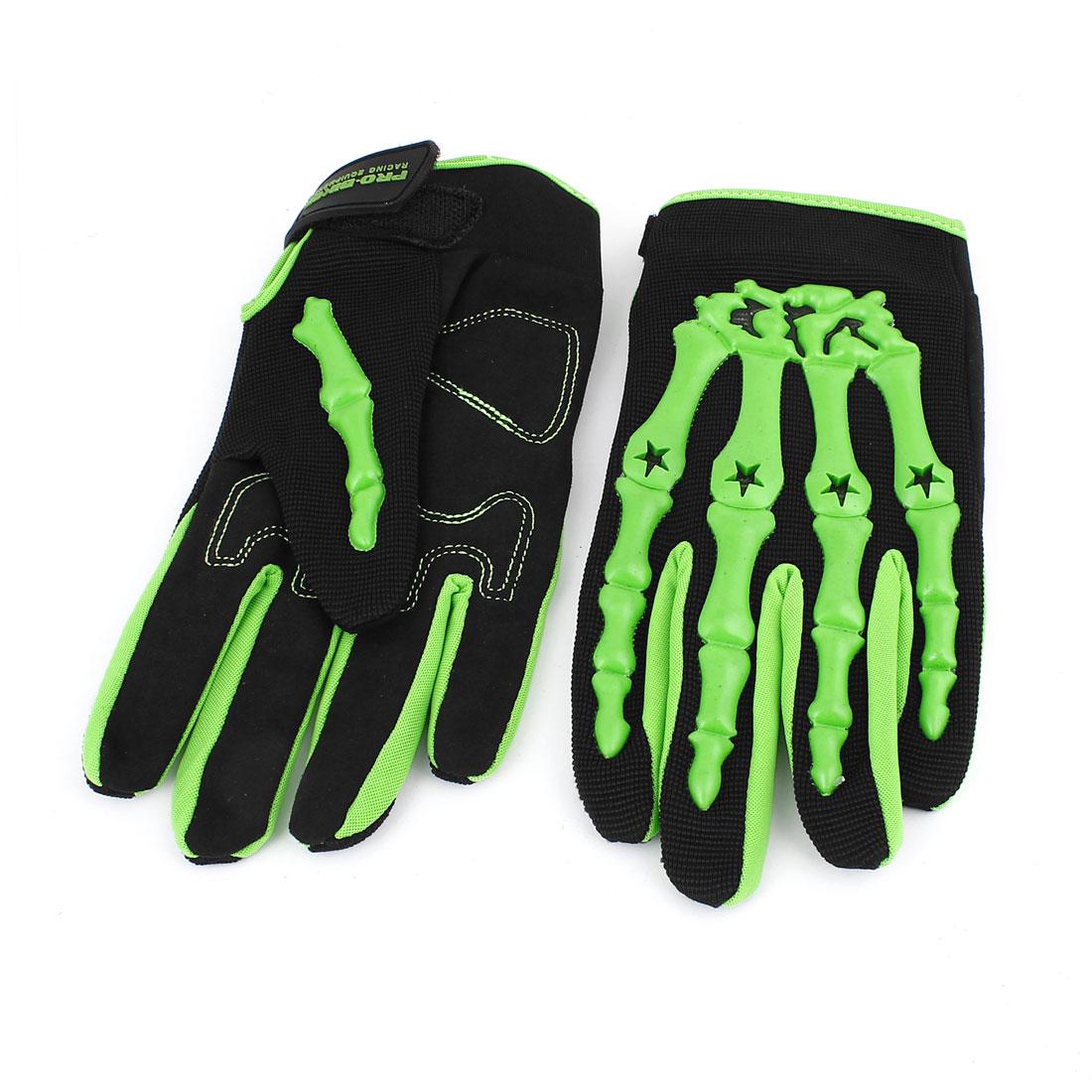 Pair Mens Full Finger Motorcycle Racing Cycling Armor Motocross Gloves Black Green L