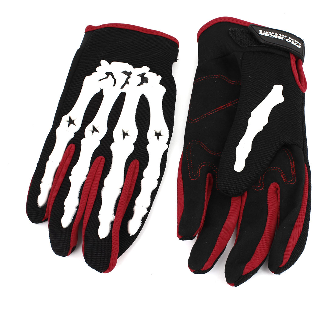 Pair Motorcycle Hook Loop Fastener White Hand Bone Printed Gloves Black Red Size L