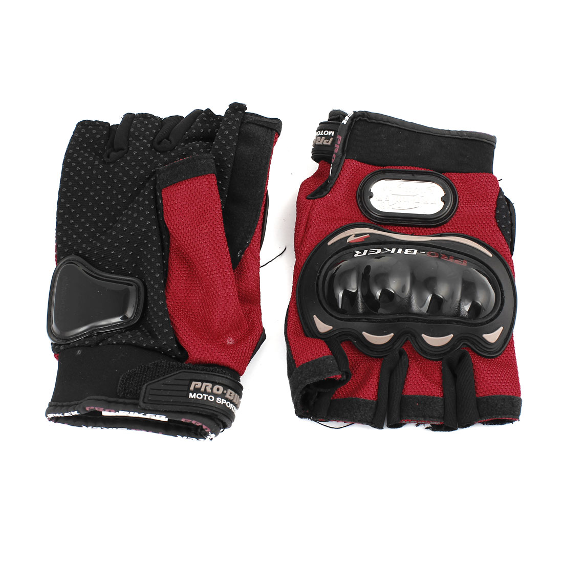 2 Pcs Motorcycle Motocross Sports Riding Racing Cycling Full Finger Gloves XXL Red Black