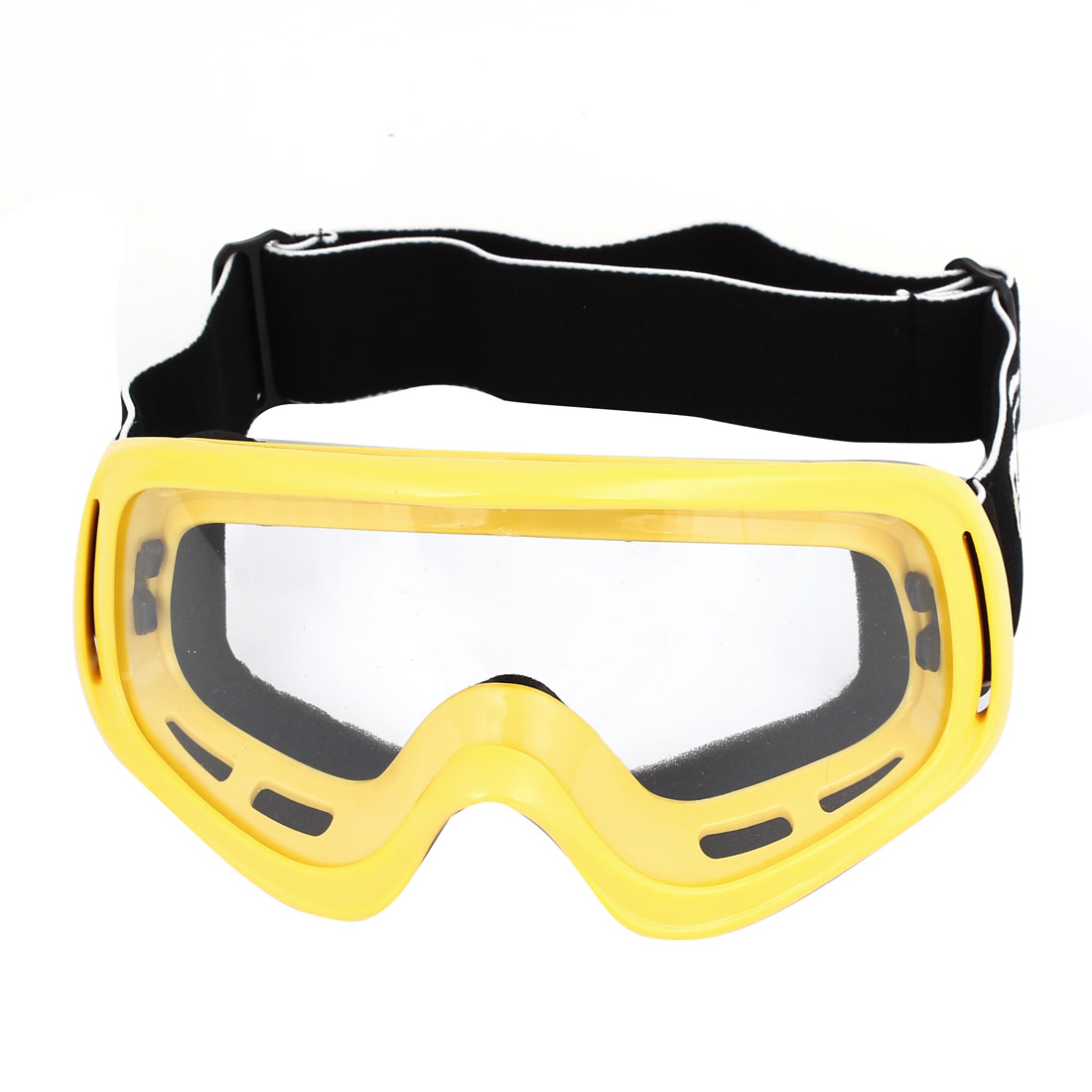 Yellow Plastic Frame Clear Lens Elastic Band Motorcycle Protective Goggles Glasses