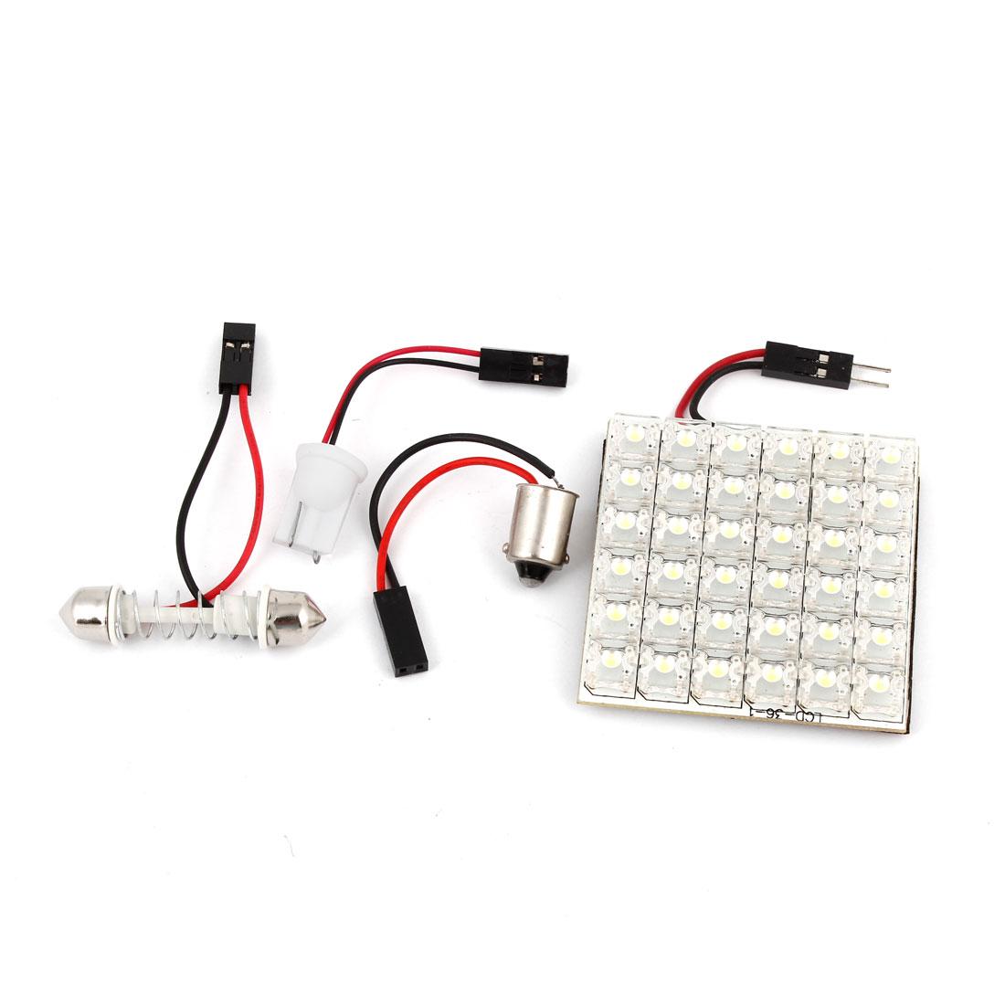 Car Internal 36-LED Roof Dome Map Lamp Bulb Panel White w T10 BA9S Festoon 12V