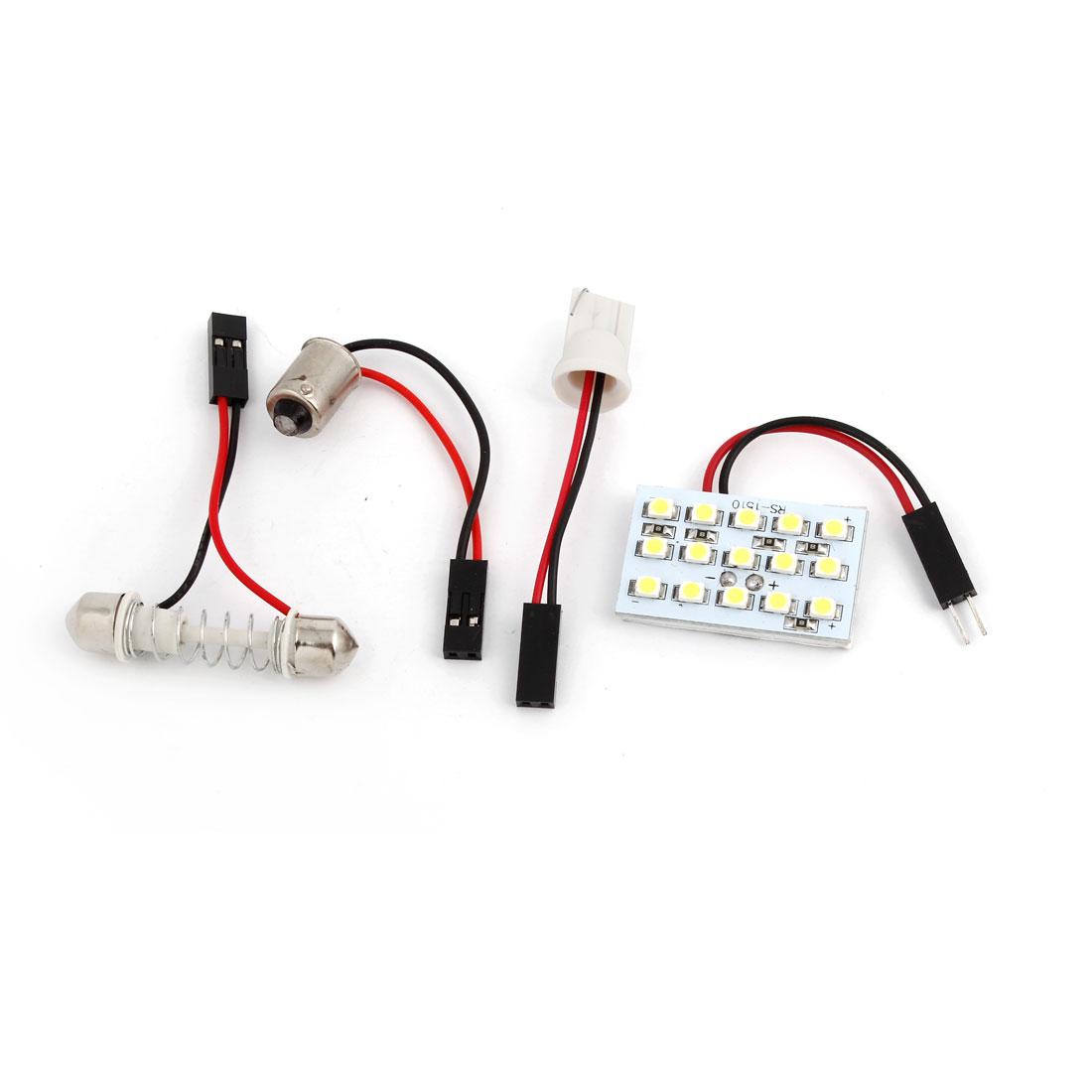 Car Internal Roof White 1210 SMD 15 LED Light Panel w T10 BA9S Festoon Adapter