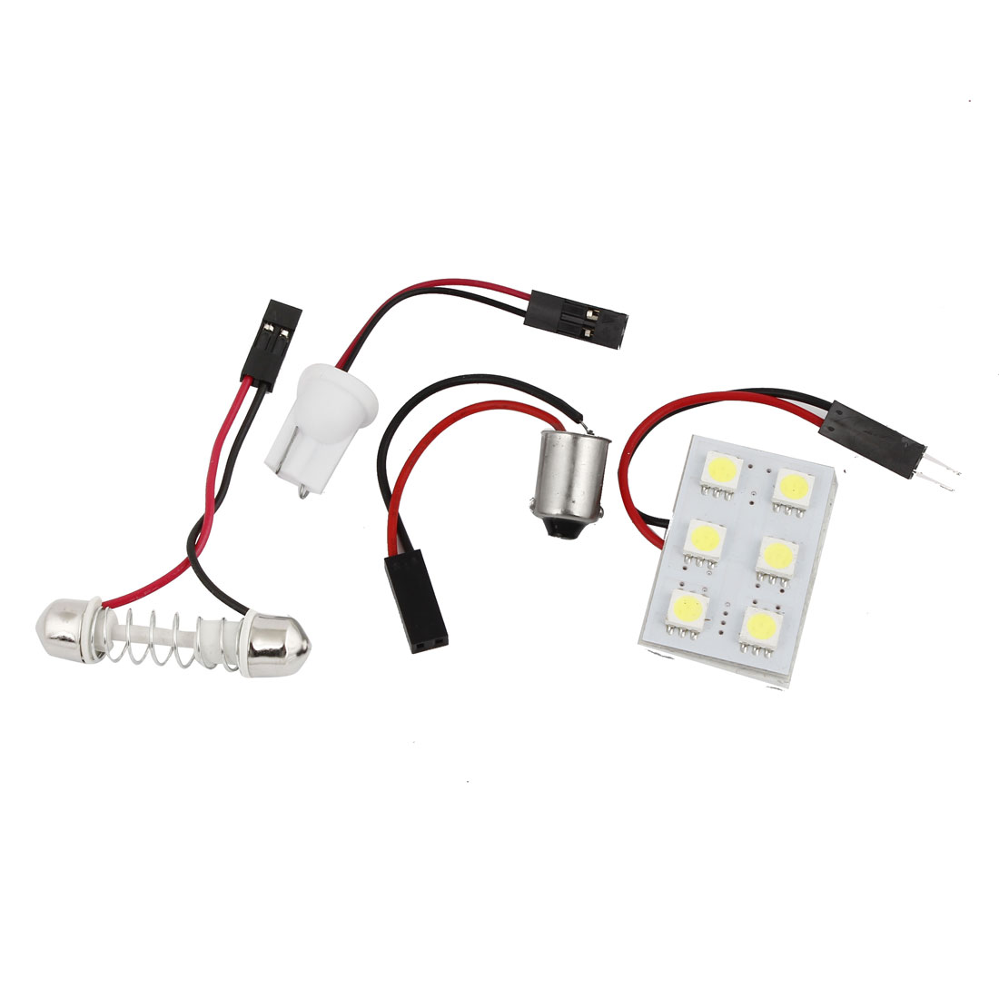 6 White 5050 SMD LED Car Auto Internal Map Roof Light w BA9S T10 Festoon Adapter