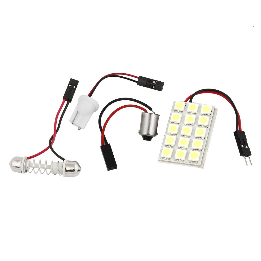 Auto 15 White 5050 SMD LED Reading Light w T10 BA9S Festoon Adapter Internal