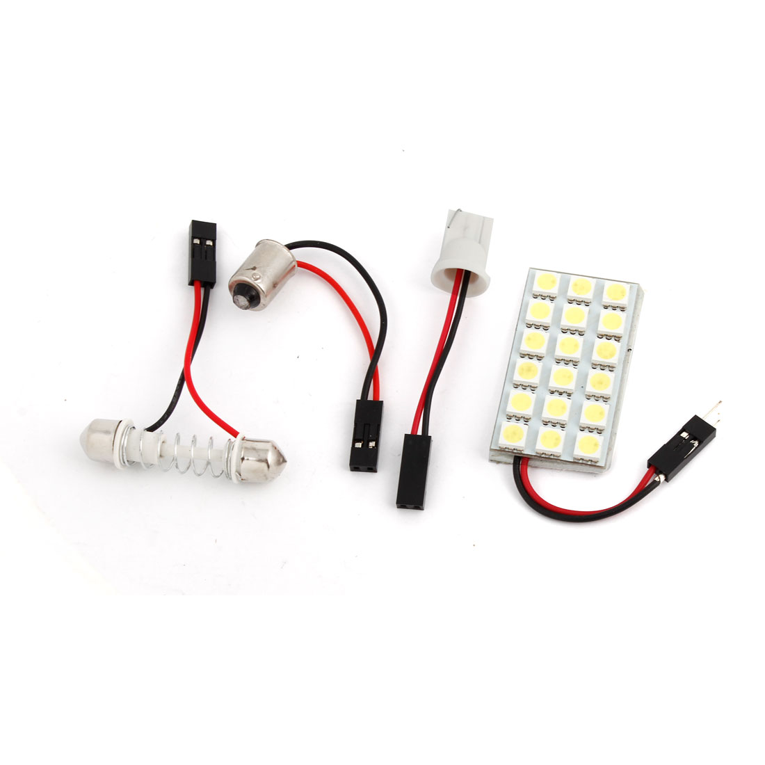 White Light Panel 18-SMD 5050 LED Dome Lamp + T10 Festoon BA9S Adapter Internal