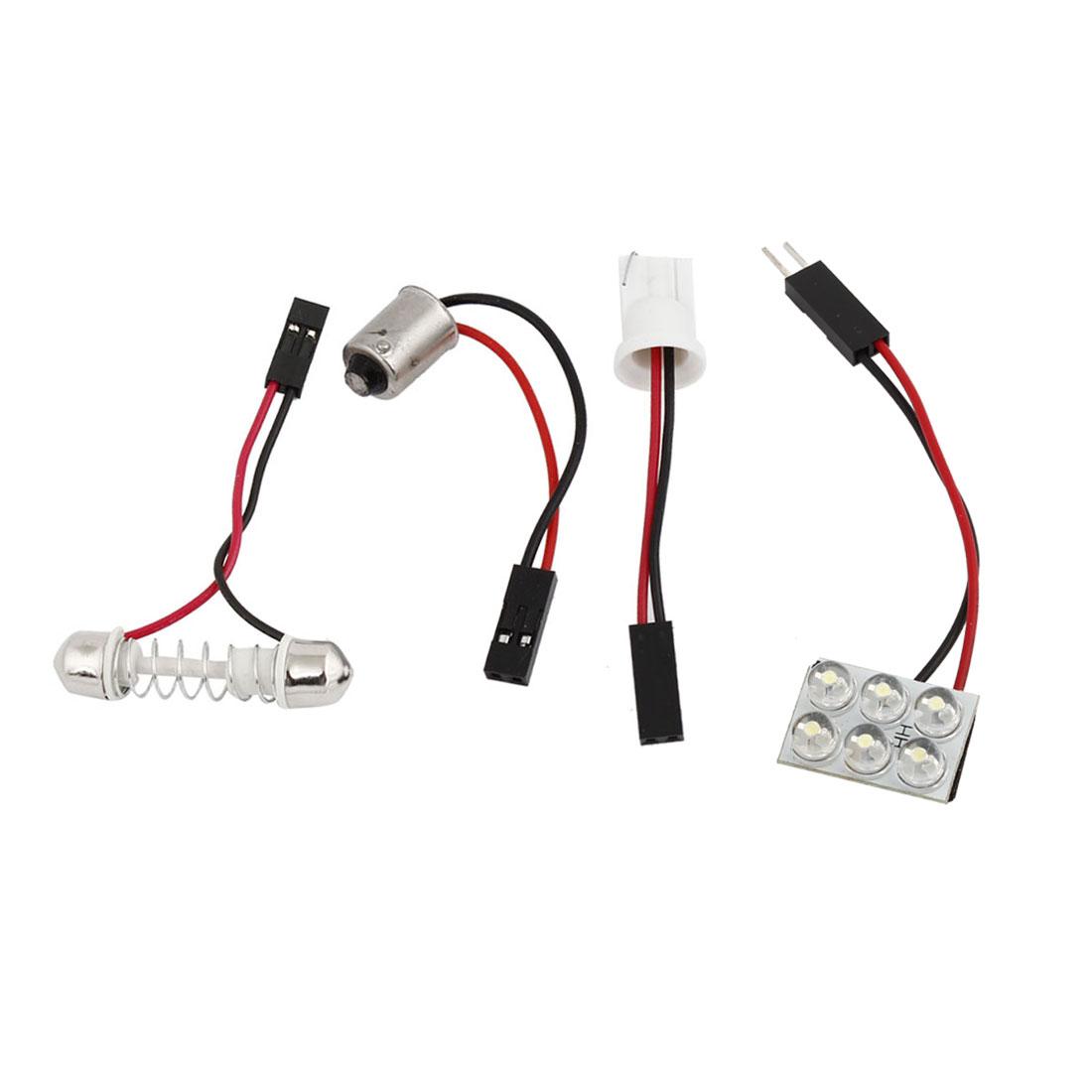 Festoon Base BA9S T10 Adaper White 6 LED Car Dome LED Map Light Bulb Internal 12V