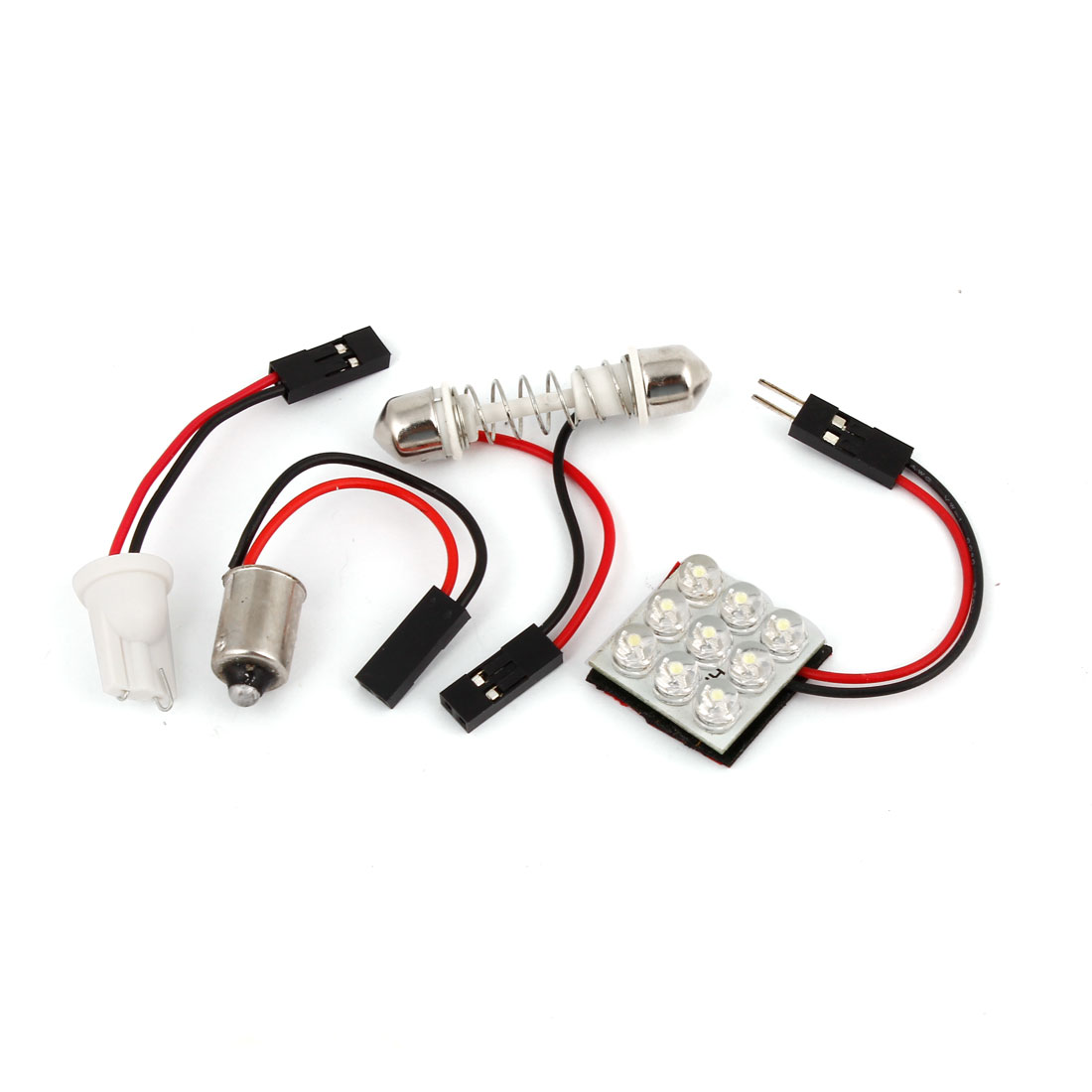 Car White 9 LED Panel Festoon Dome Light Map Lamp T10 BA9S Festoon Adapter Internal