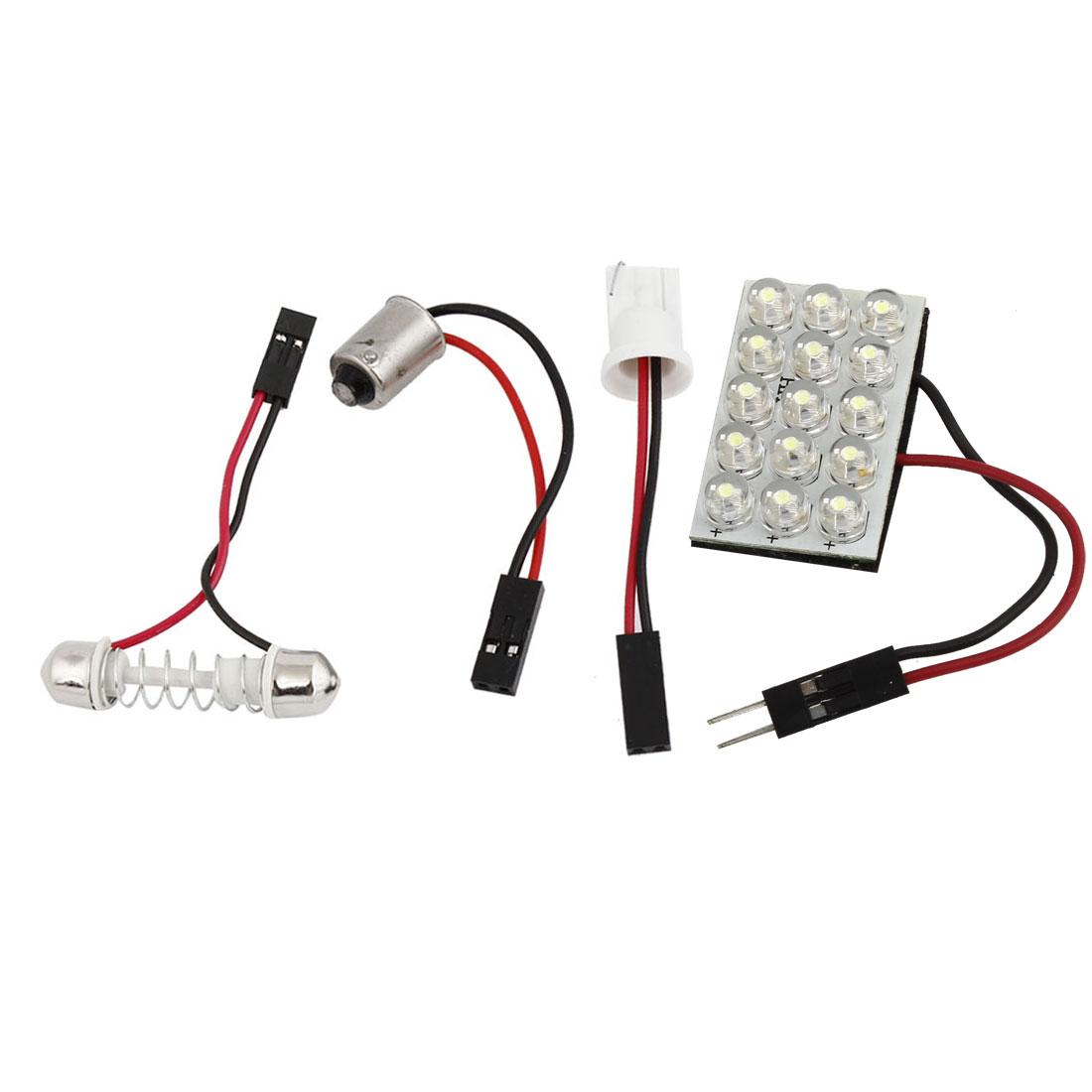 BA9S Festoon T10 Adaper White 15 LED Car Internal Dome LED Roof Light Bulb 12V