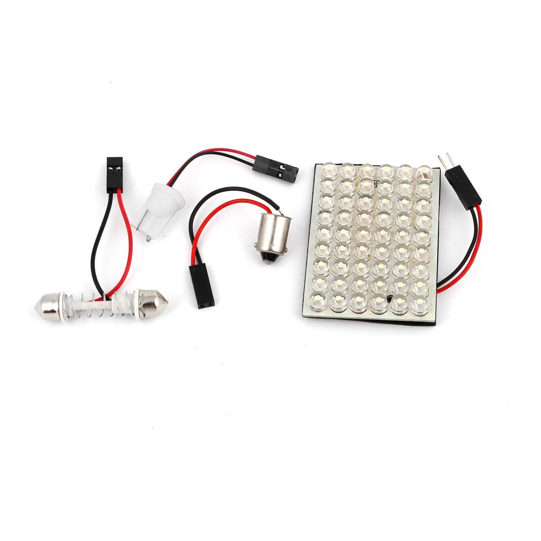 12V White 54 LED Car Internal Dome Light Bulb Festoon Base T10 BA9S Adapter