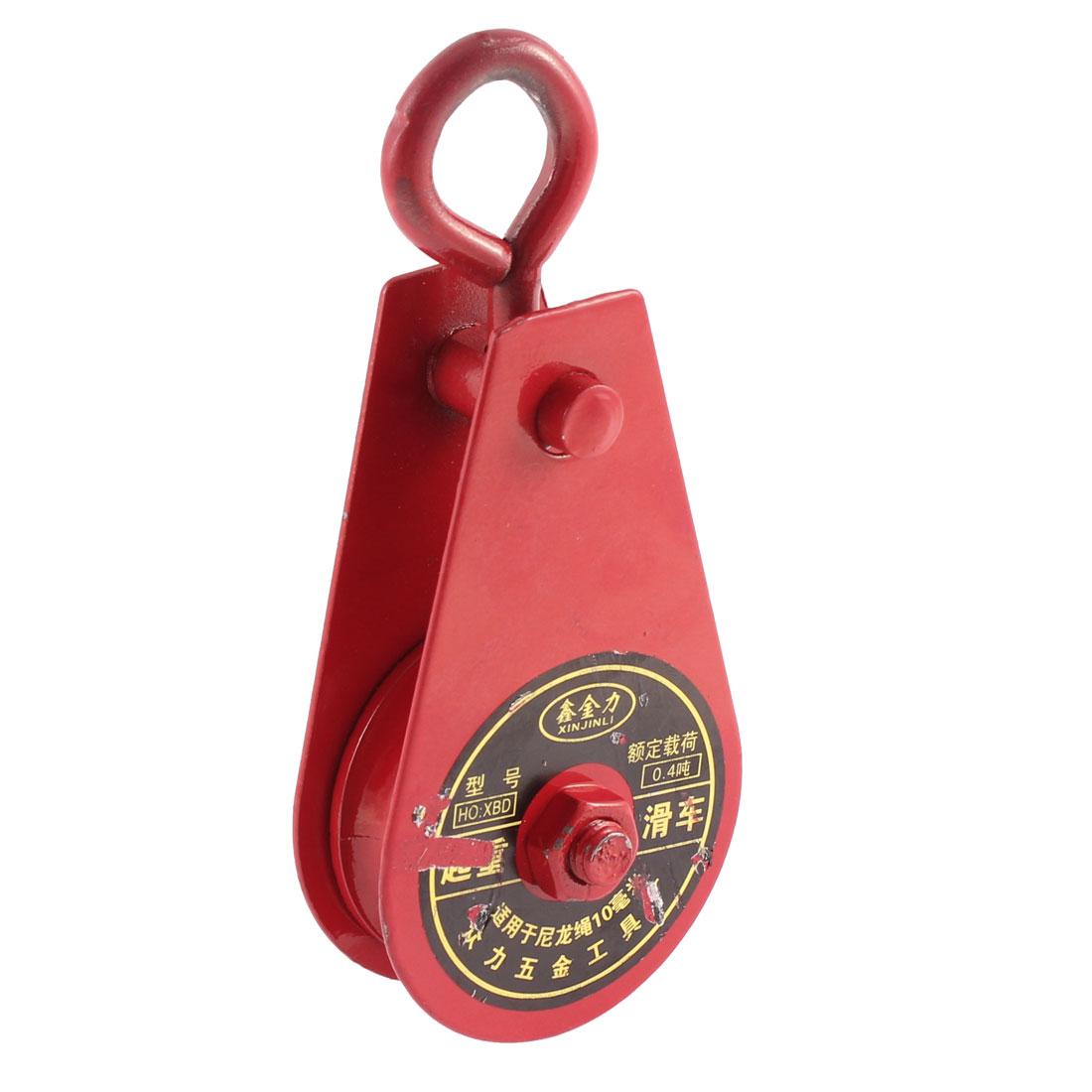 0.4 Ton Metal 55mm Dia Single Sheave Swivel Eye Rope Pulley Red