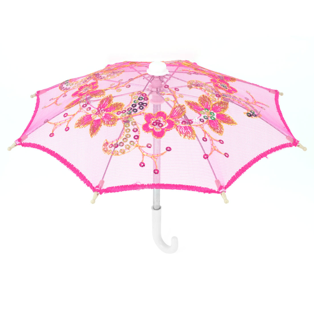 Dance Wedding Embroidery Floral Pattern Sequins Accent Mini Parasol Umbrella Craft Ornament Fuchsia