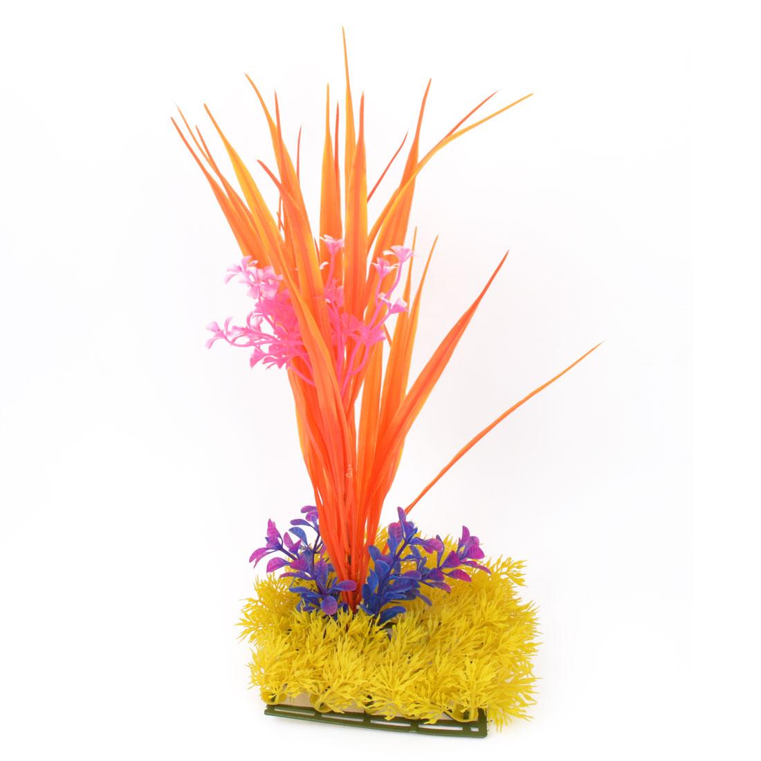 "Fish Tank Aquascaping Manmade Orange Yellow Aquatic Plant Grass Decor 13.8"""