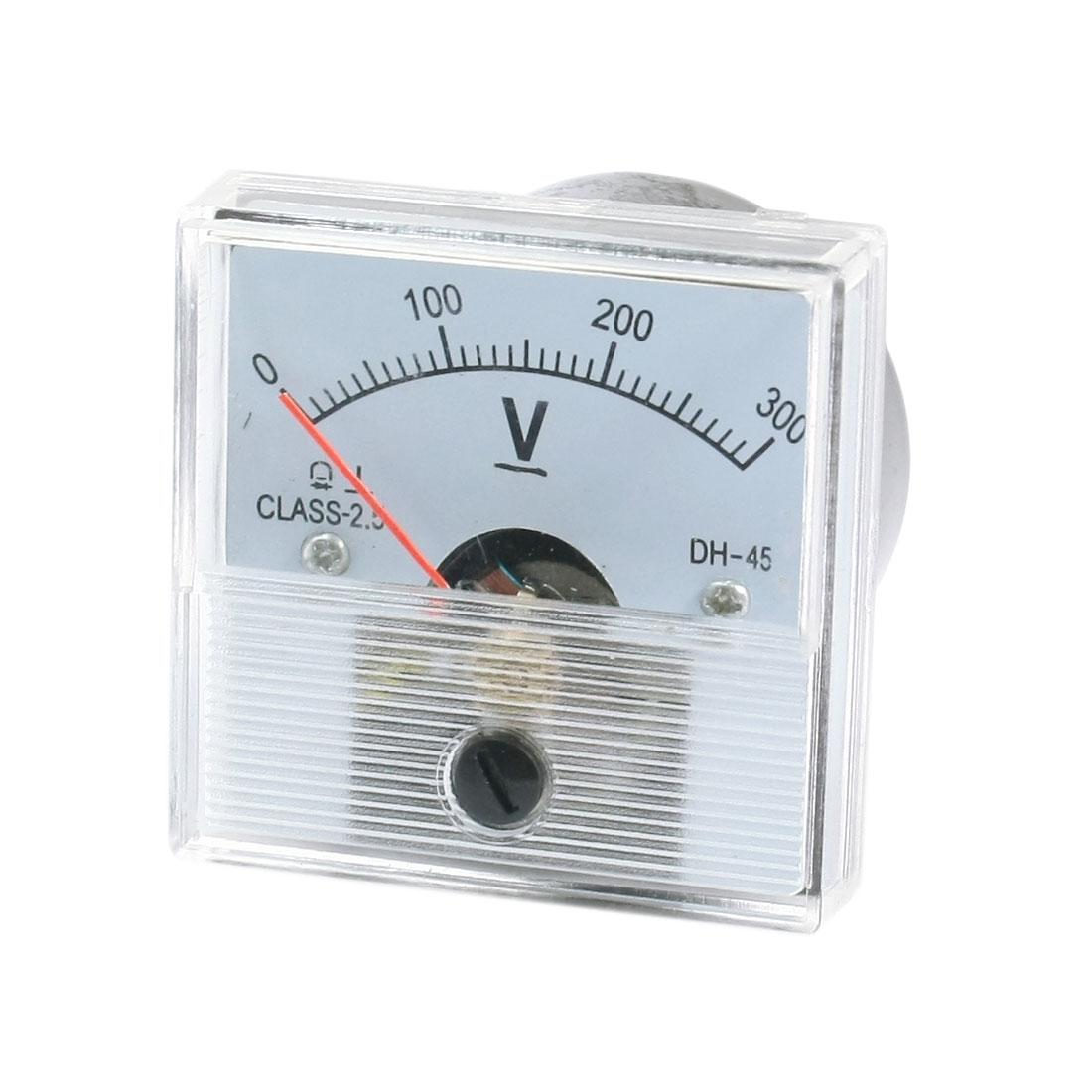 DC 0-300V Arabic Numerals Dial Panel Analog Voltmeter Volt Meter DH-45