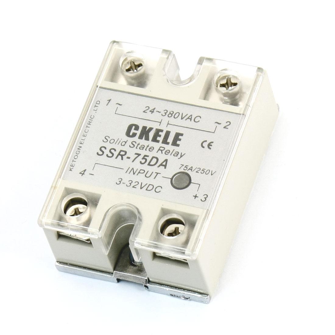 AC 24-380V Temperature Contoller DC-AC Solid State Relay SSR-75DA