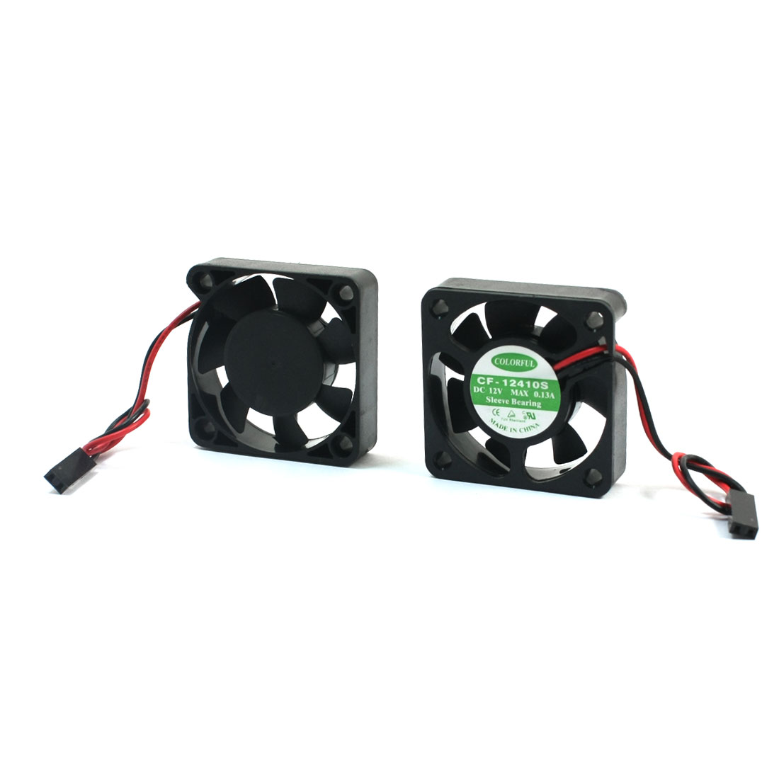 2Pcs 40mm x 40mm 2 Wires 2 Pin Connector Cooling Fan DC 12V 0.13A for Computer