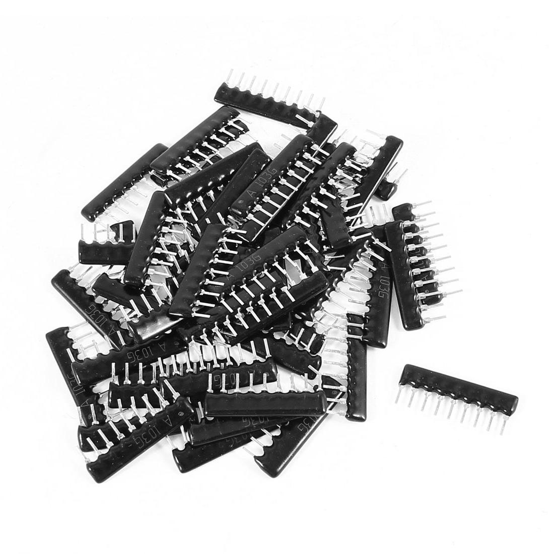 50Pcs 9A-103J 10K Ohm 5% Tolerance 2.54mm Pitch 9 Pin Lead Network Resistors