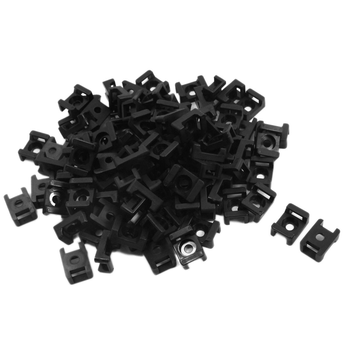 8mm Max Tie Width Black Cable Mount Saddle Base Holder 100 Pcs