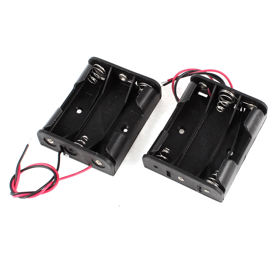 2 Pcs Open Frame Spring Loaded Double Wired Plastic Shell 3 x 1.5V AA Battery Holder Case Storage Cell Box