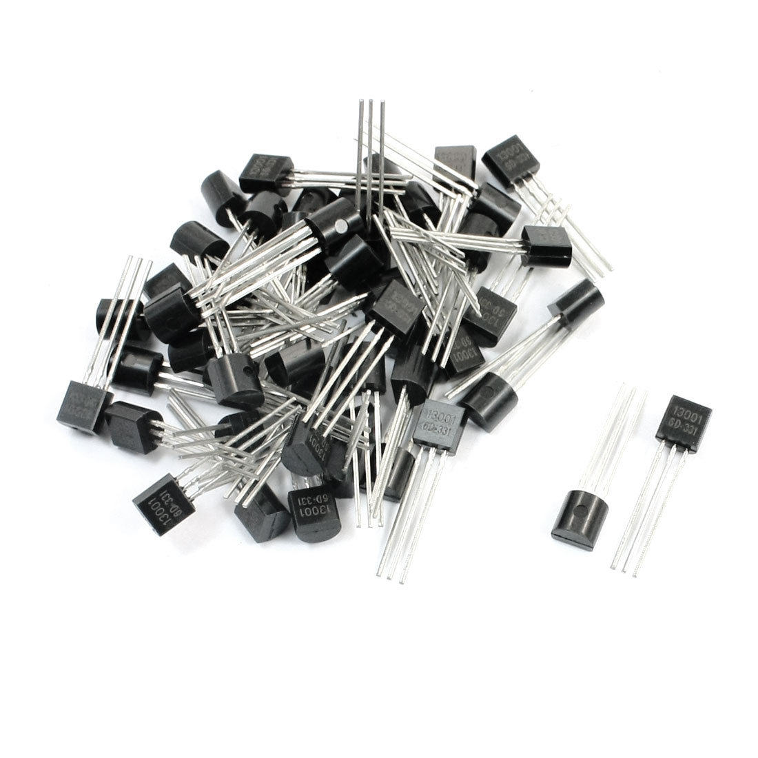 50pcs General Propose 13001 600V 0.2A TO-92 Package NPN Transistor