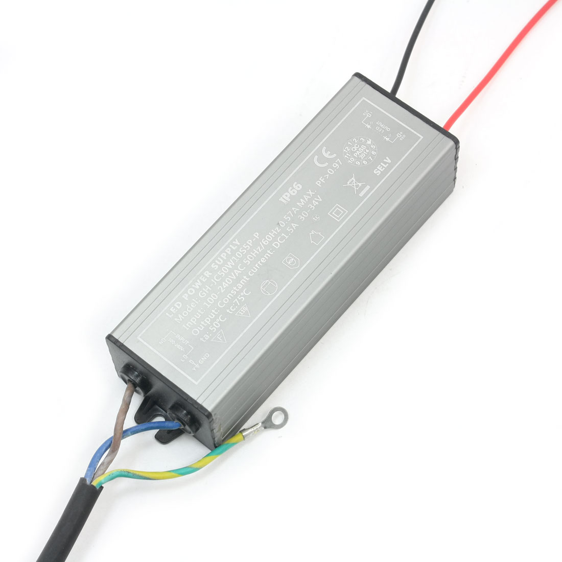 AC 100-240V Aluminum Alloy Power Supply Driver for DC 30-34V 50W LED Light