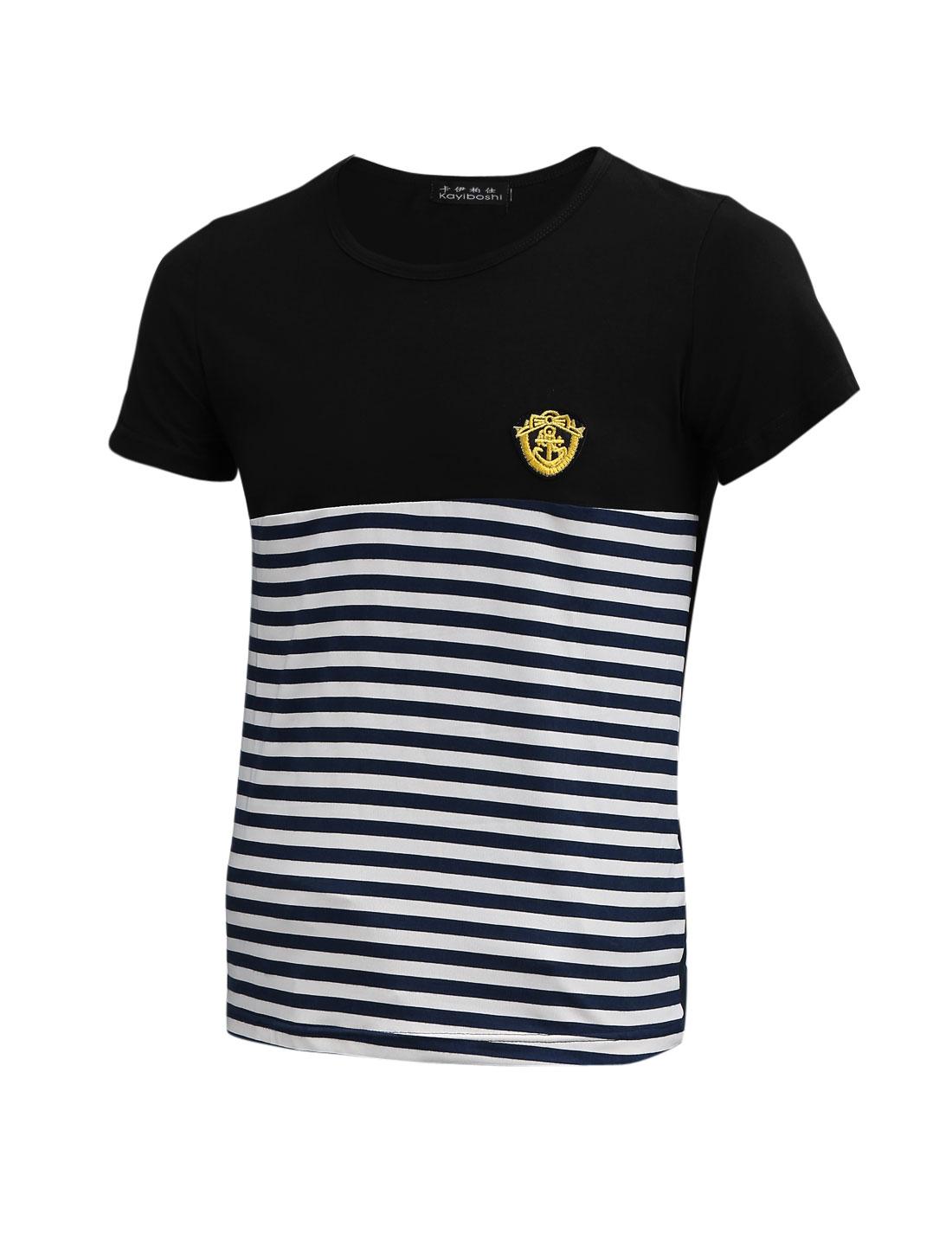Men Horizontal Stripes Round Neck Embroidered Detail Basic T-Shirt Black S