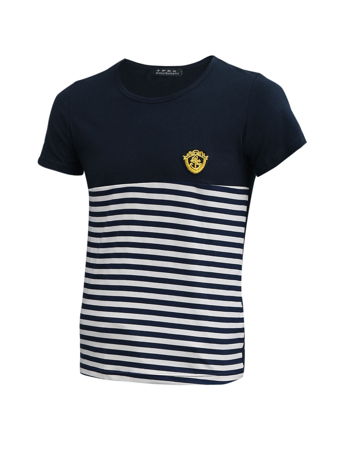 Men Navy Blue Stripes Spliced Round Neck Slim Fit Casual T-Shirt S