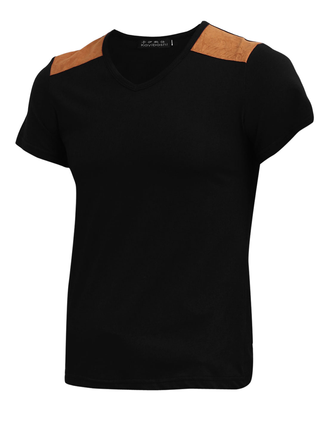 Man V Neck Panel Design Slim Fit Slipover Basic T-Shirt Black S