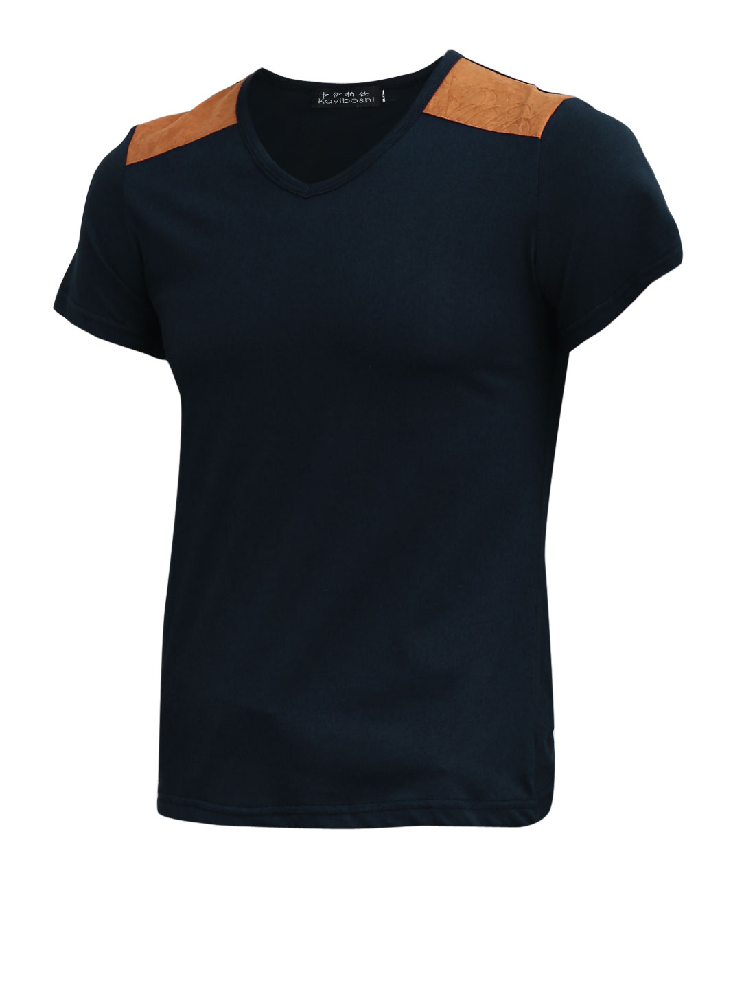 Navy Blue V Neck Short-sleeved Slim Fit Basic Tee Shirt for Men S