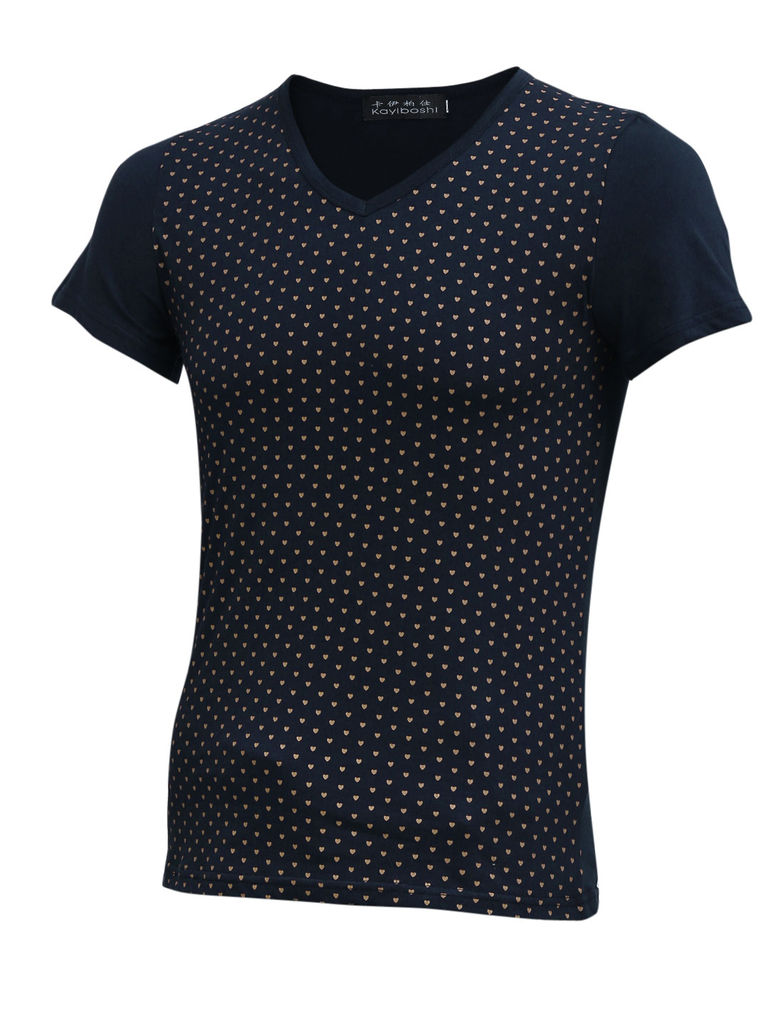 Men Navy Blue Hearts Pattern V Neck Slim Fit Slipover Basic T-Shirt S