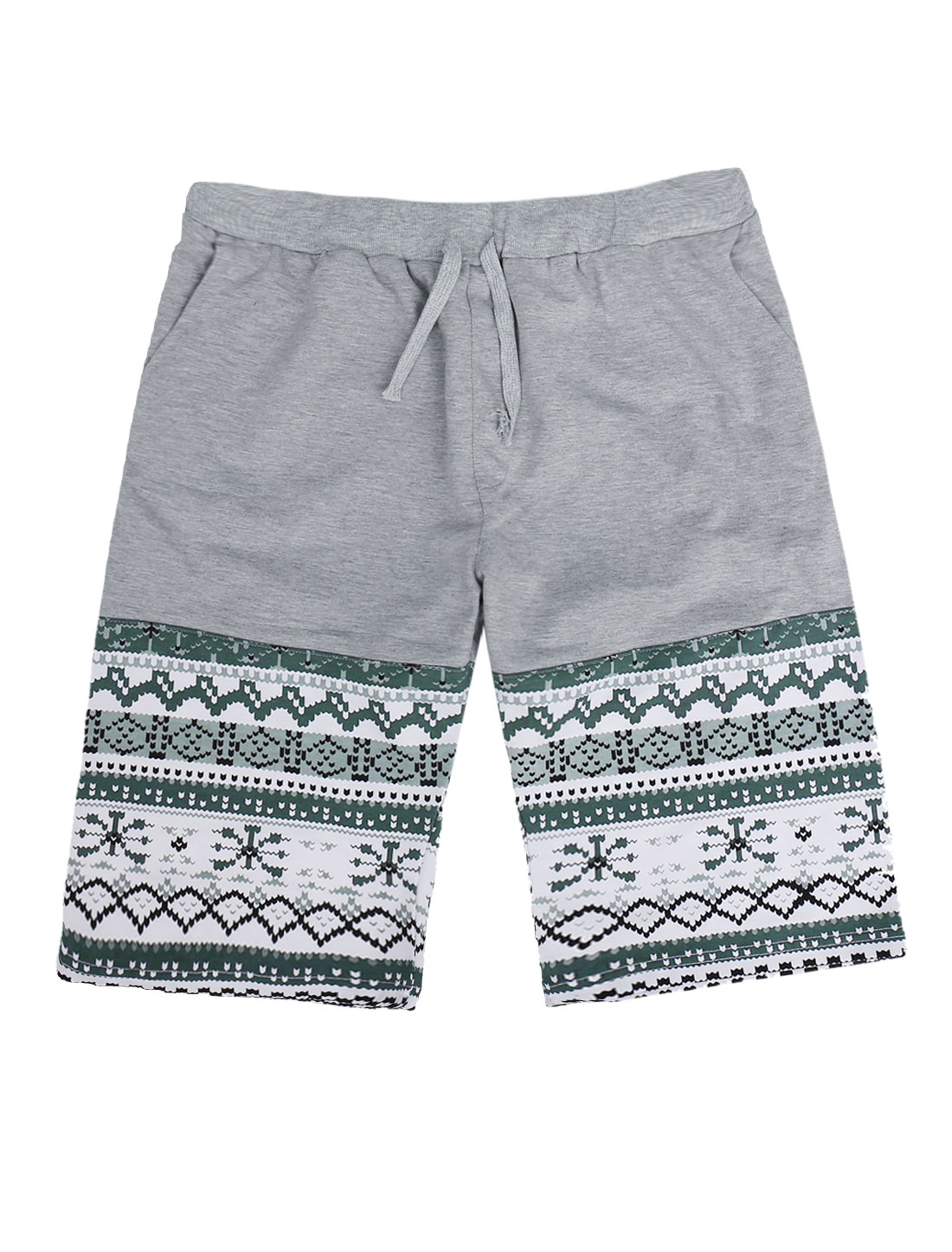 Man Casual Geometric Prints Stretchy Waist Two Pockets Front Light Gray Shorts W30