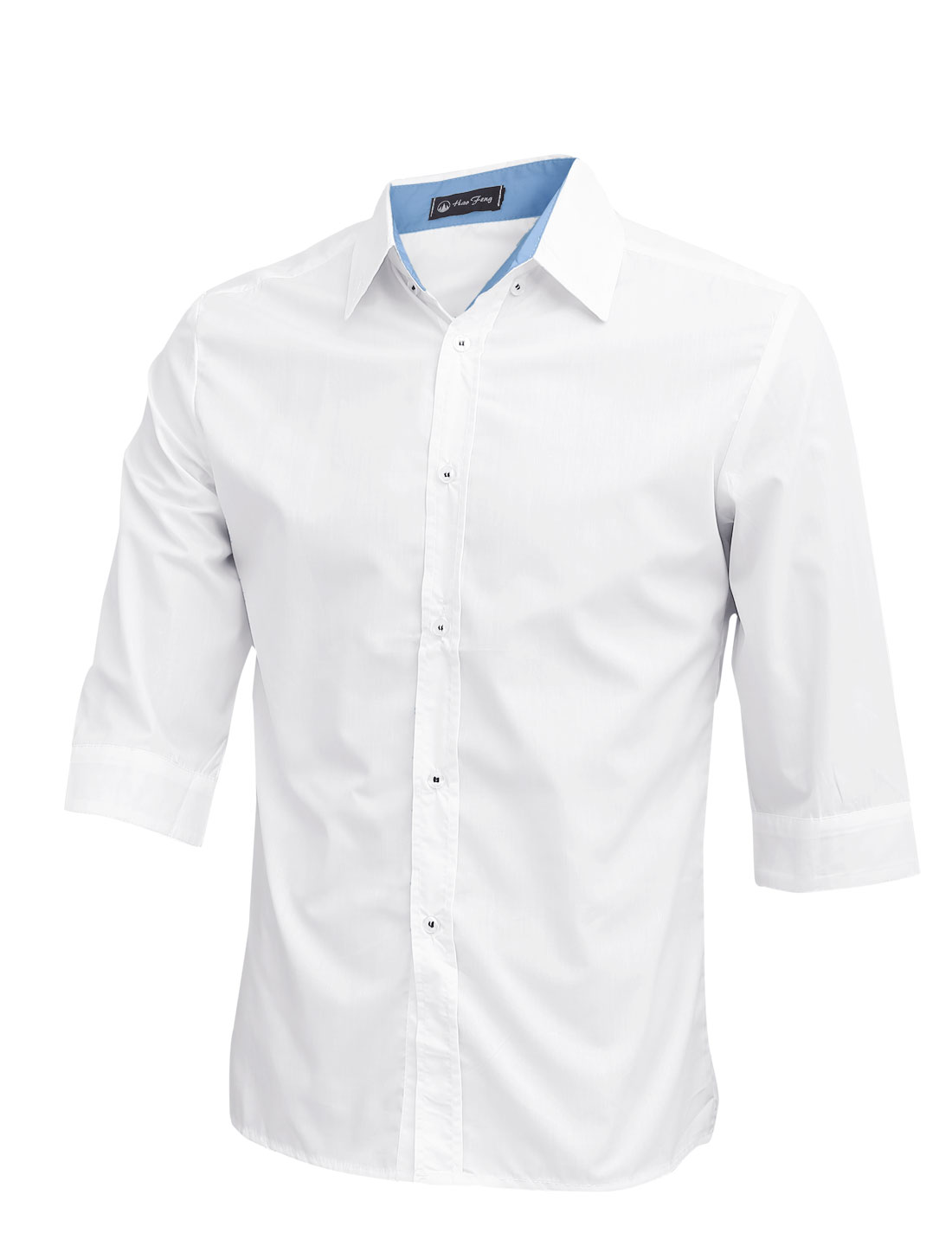 Men Stylish Button Up 3/4 Sleeve Casual Shirt White M