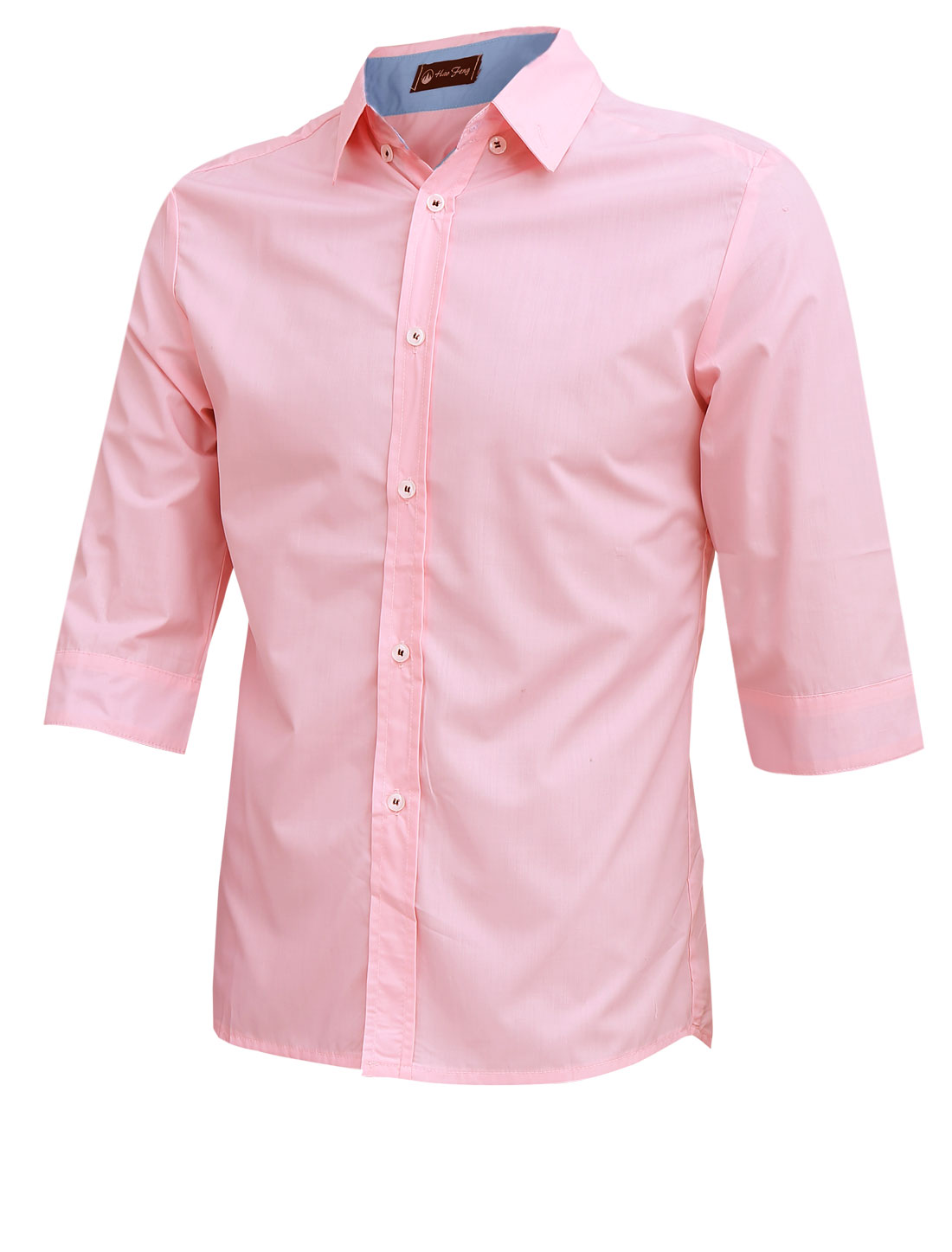 Men Point Collar Button Up 3/4 Sleeve Casual Shirt Pink M